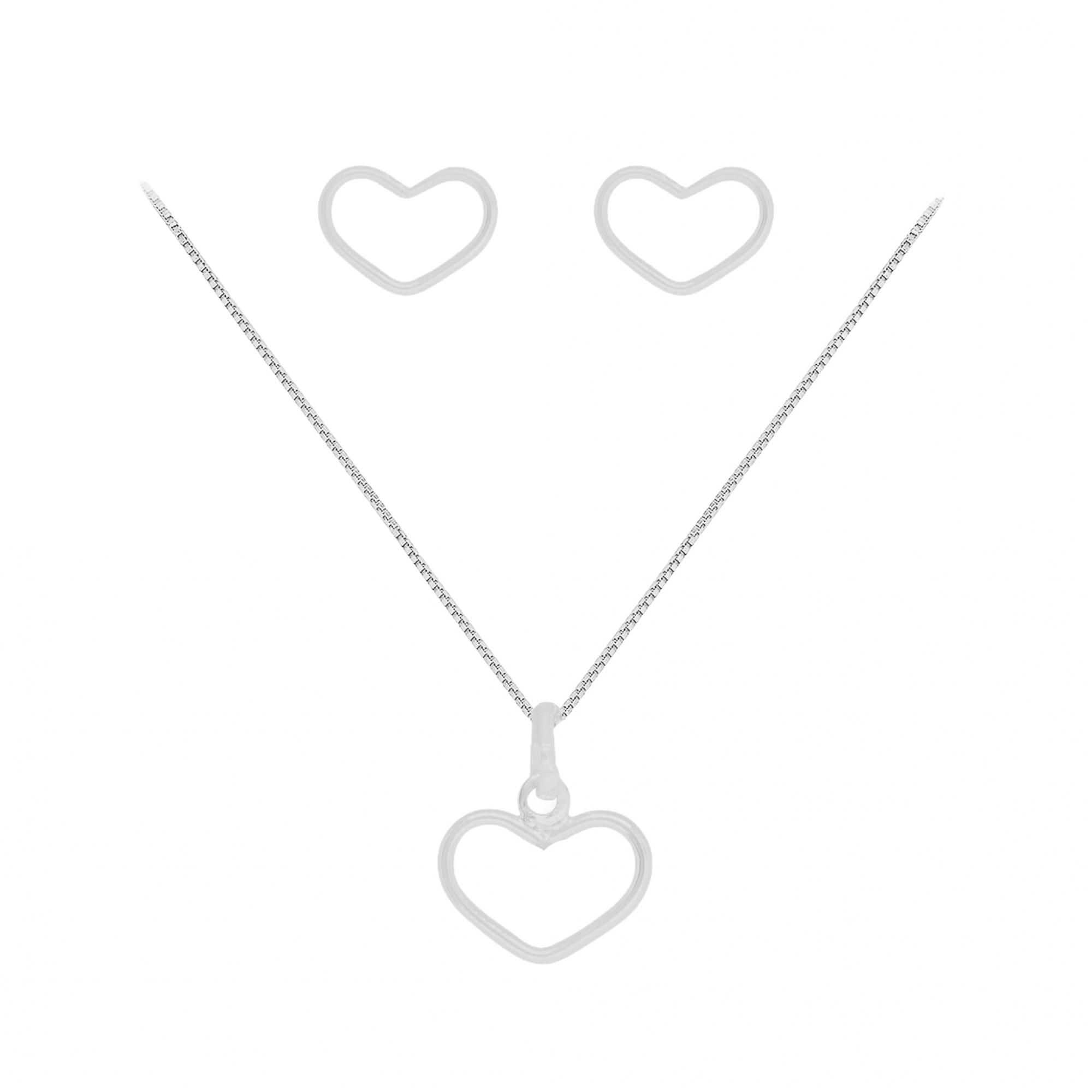 Conjunto joia em prata 925 pura coração fio vazado hipoalergênica