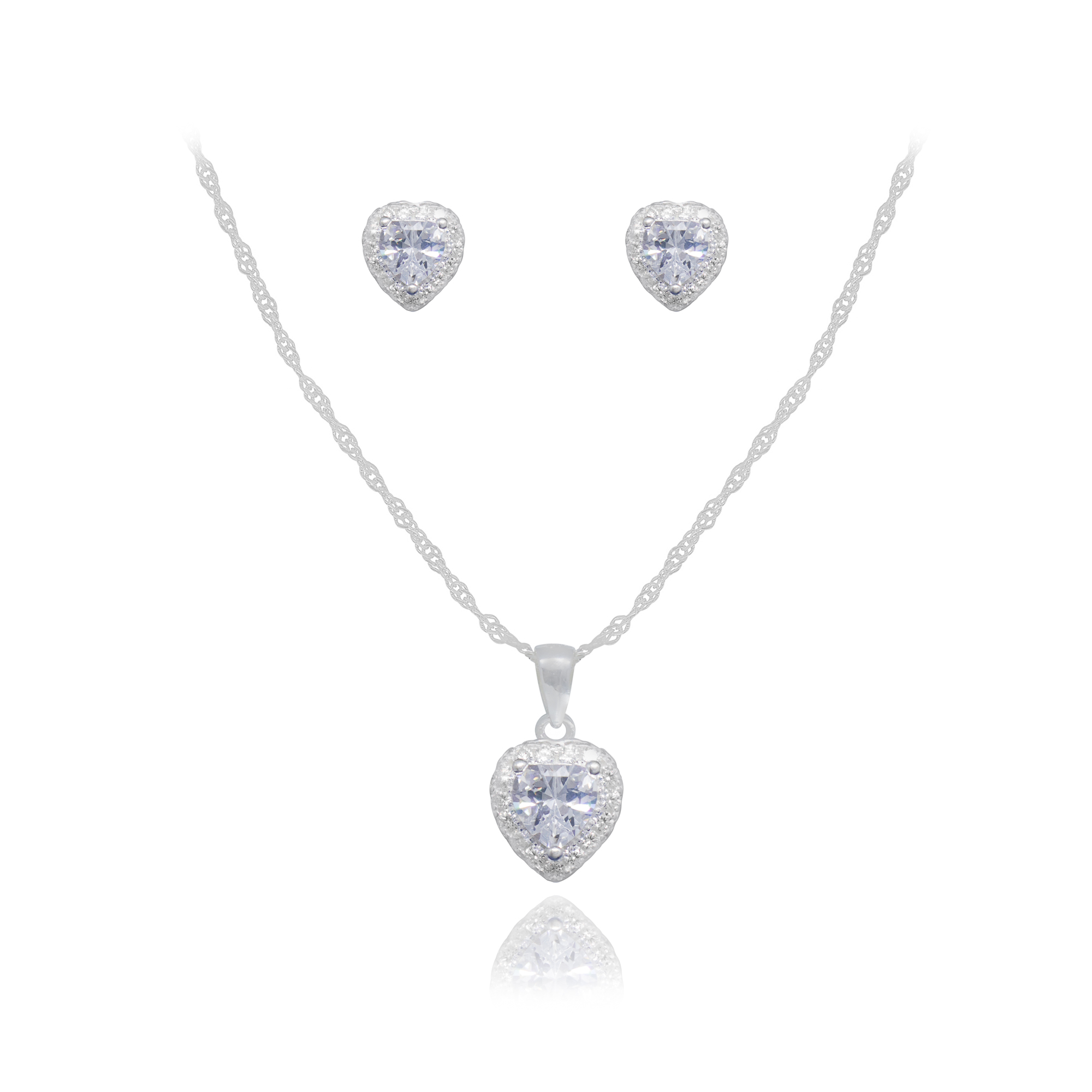Conjunto joia prata 925 pura zircônia Coração hipoalergênica