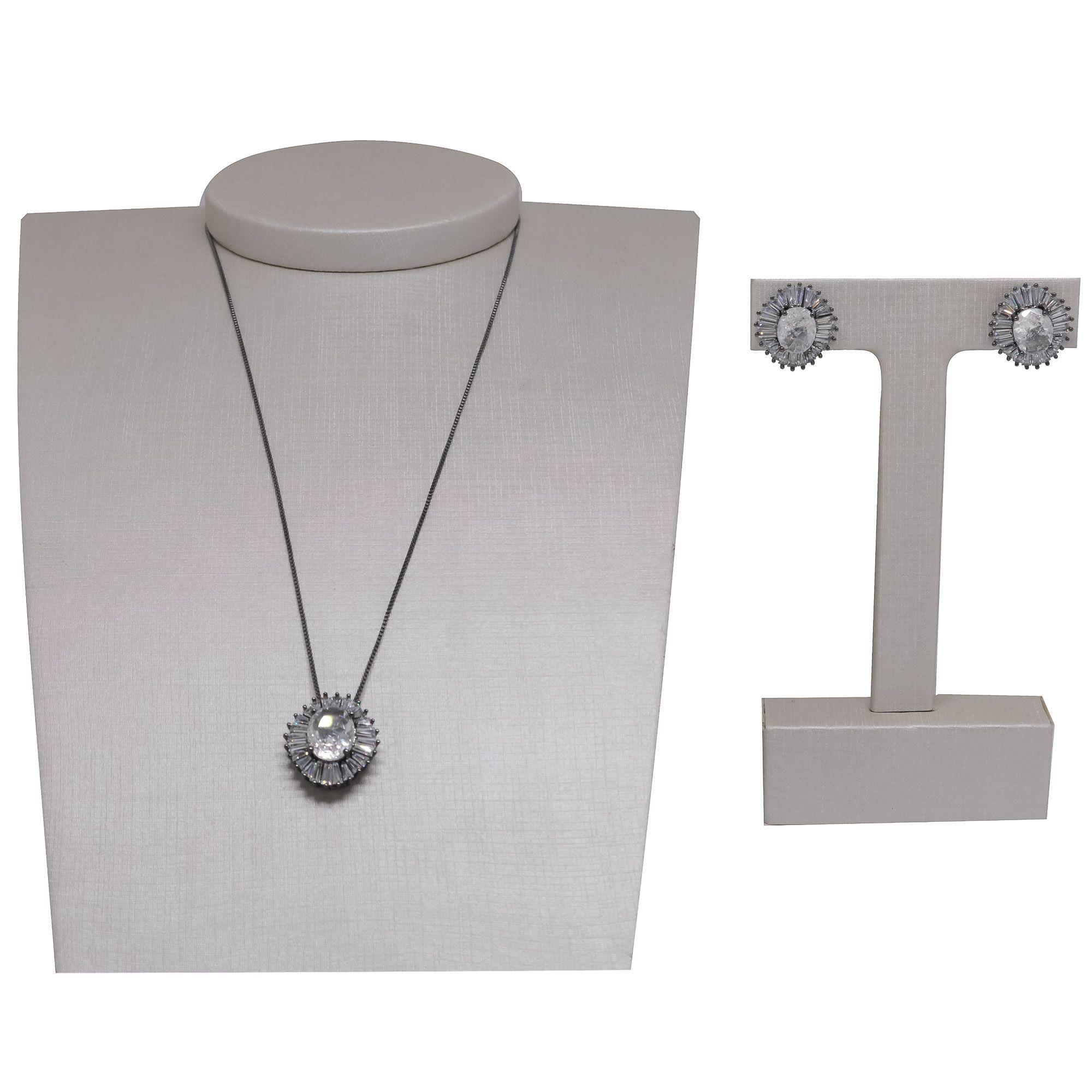 Conjunto Semi joia brinco e colar  oval com zircônias Baguette banhado a ouro 18k ou rhodium