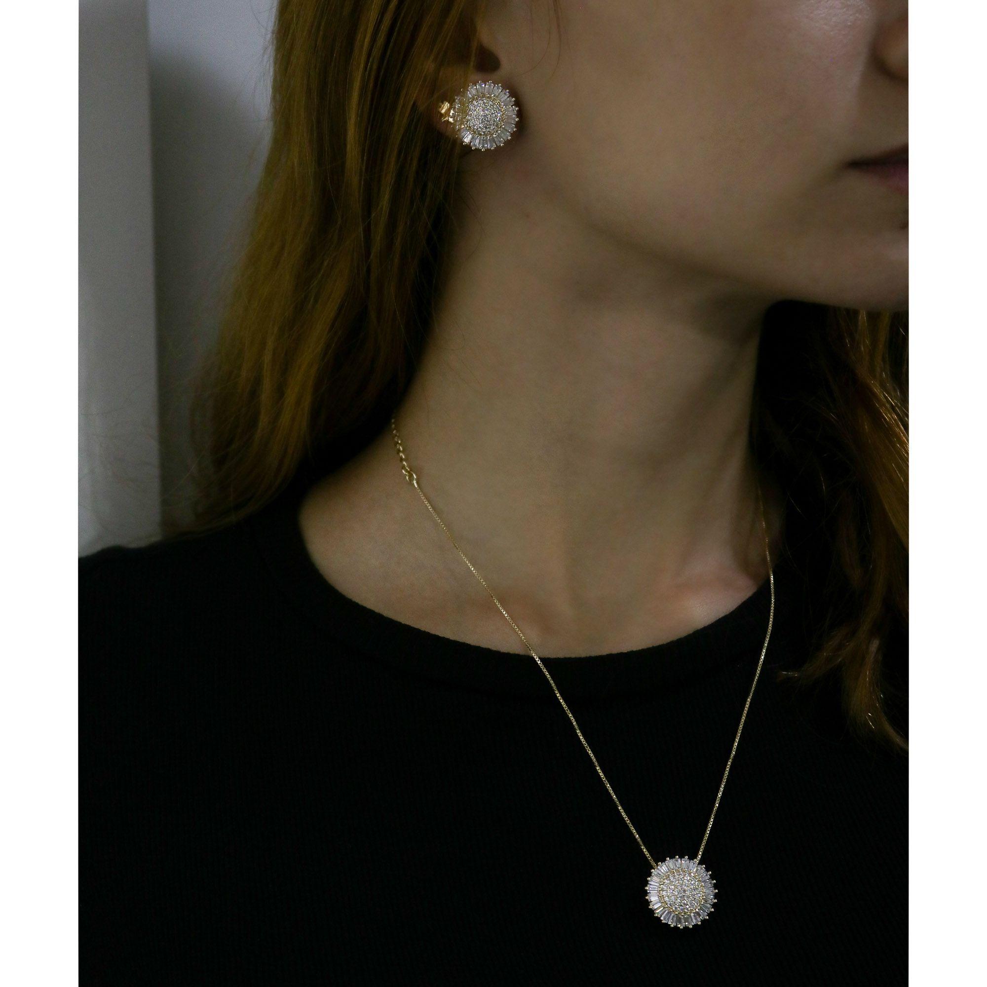 Conjunto Semi joia colar e brinco círculo com zircônias Baguettes banhado a ouro 18k ou rhodium