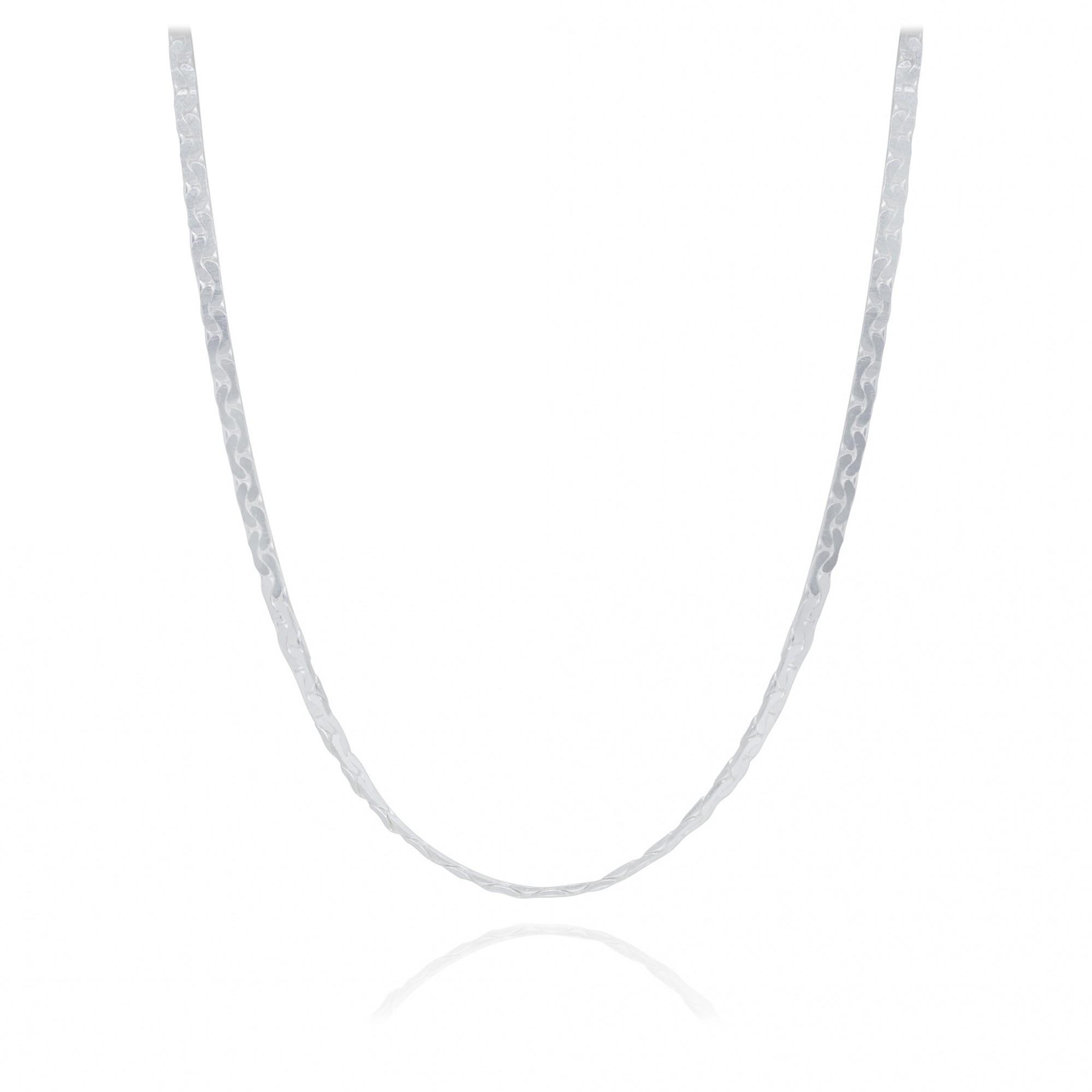 Corrente joia em prata 925 pura modelo laminada e diamantada