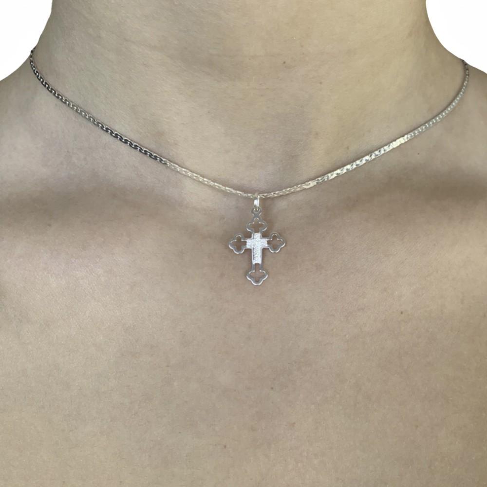 Corrente joia em prata 925 modelo laminada e diamantada