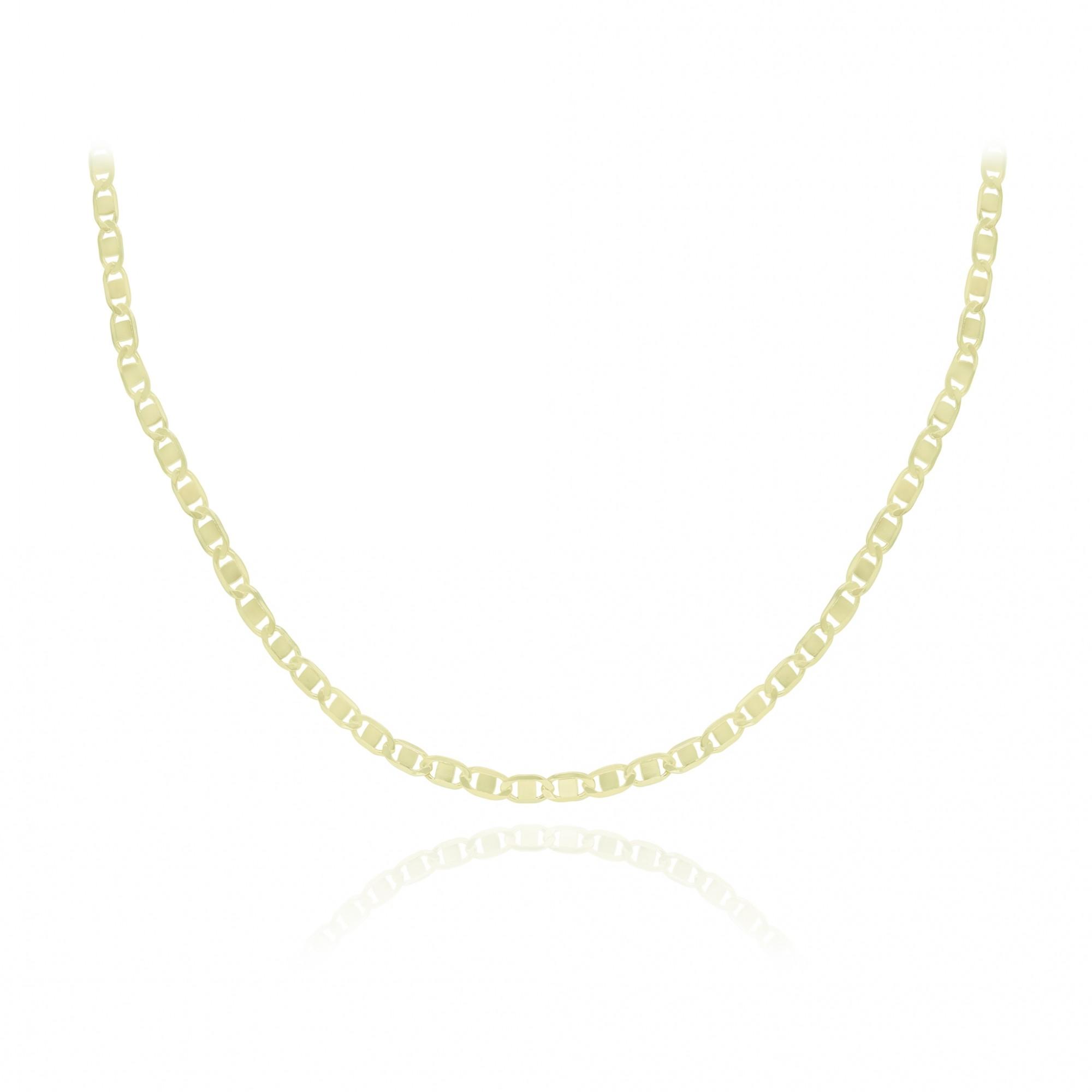 Corrente semijoia folheada a ouro modelo travessa diamantada