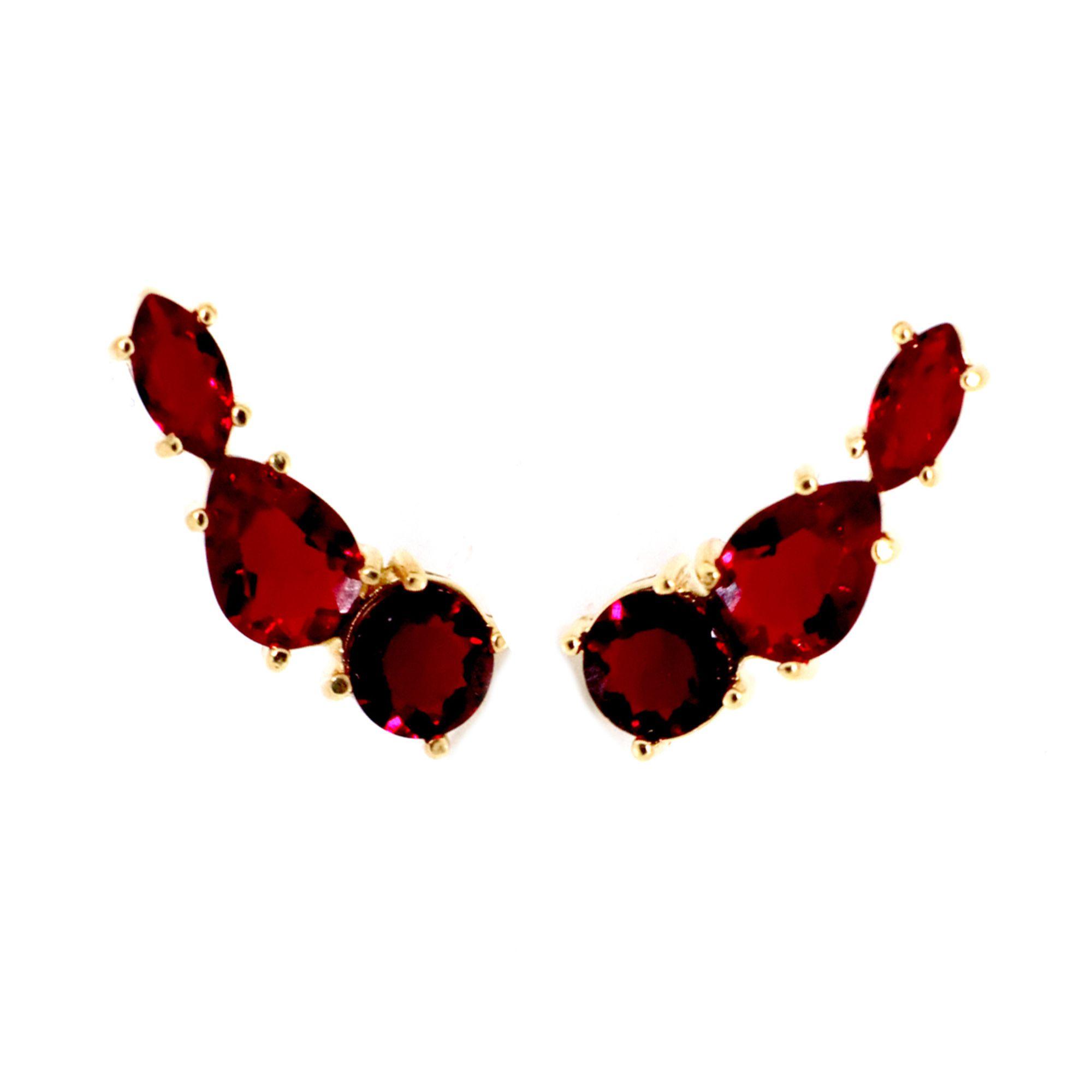 Brinco Semi joia Ear cuff 3 Cristais  banhado a ouro 18k ou rhodium