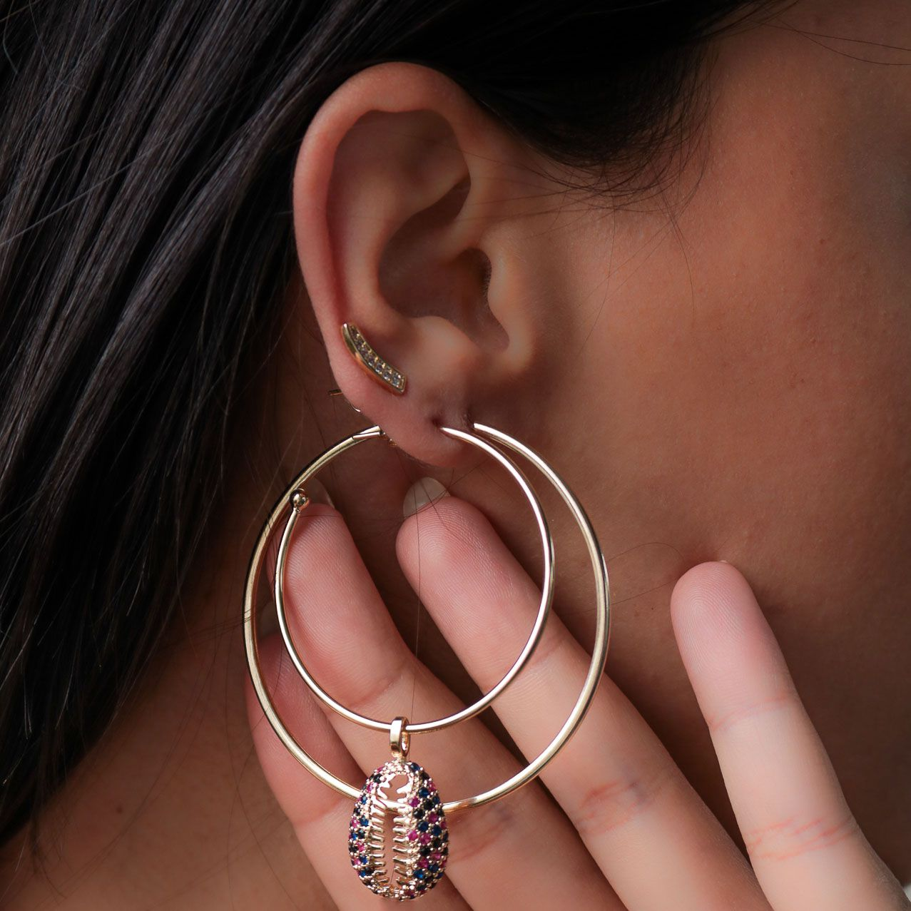 Brinco Semi joia Ear cuff Mimos banhado a ouro 18k ou rhodium