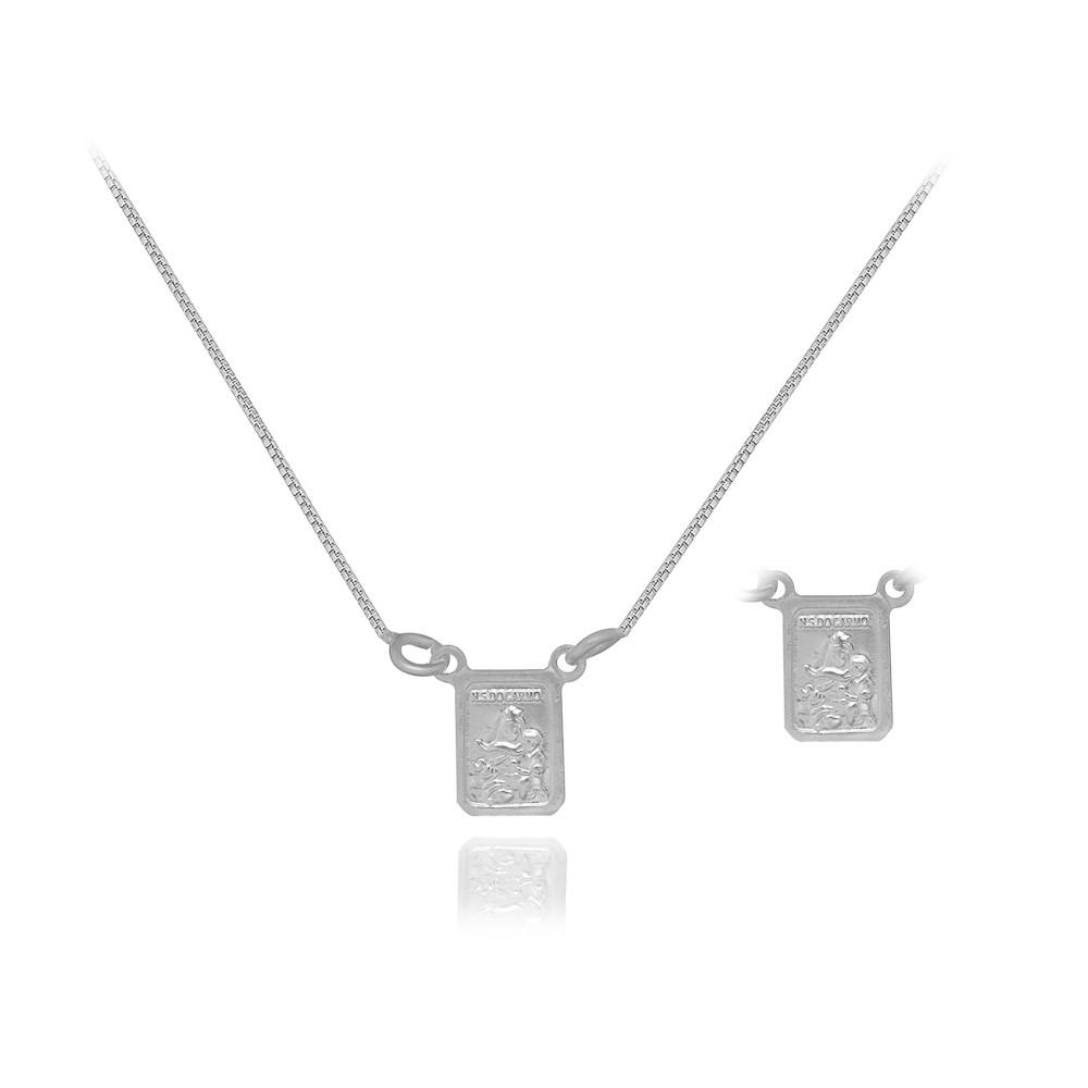 Escapulário joia prata 925 Sagrado Coração  Nossa Sra Carmo