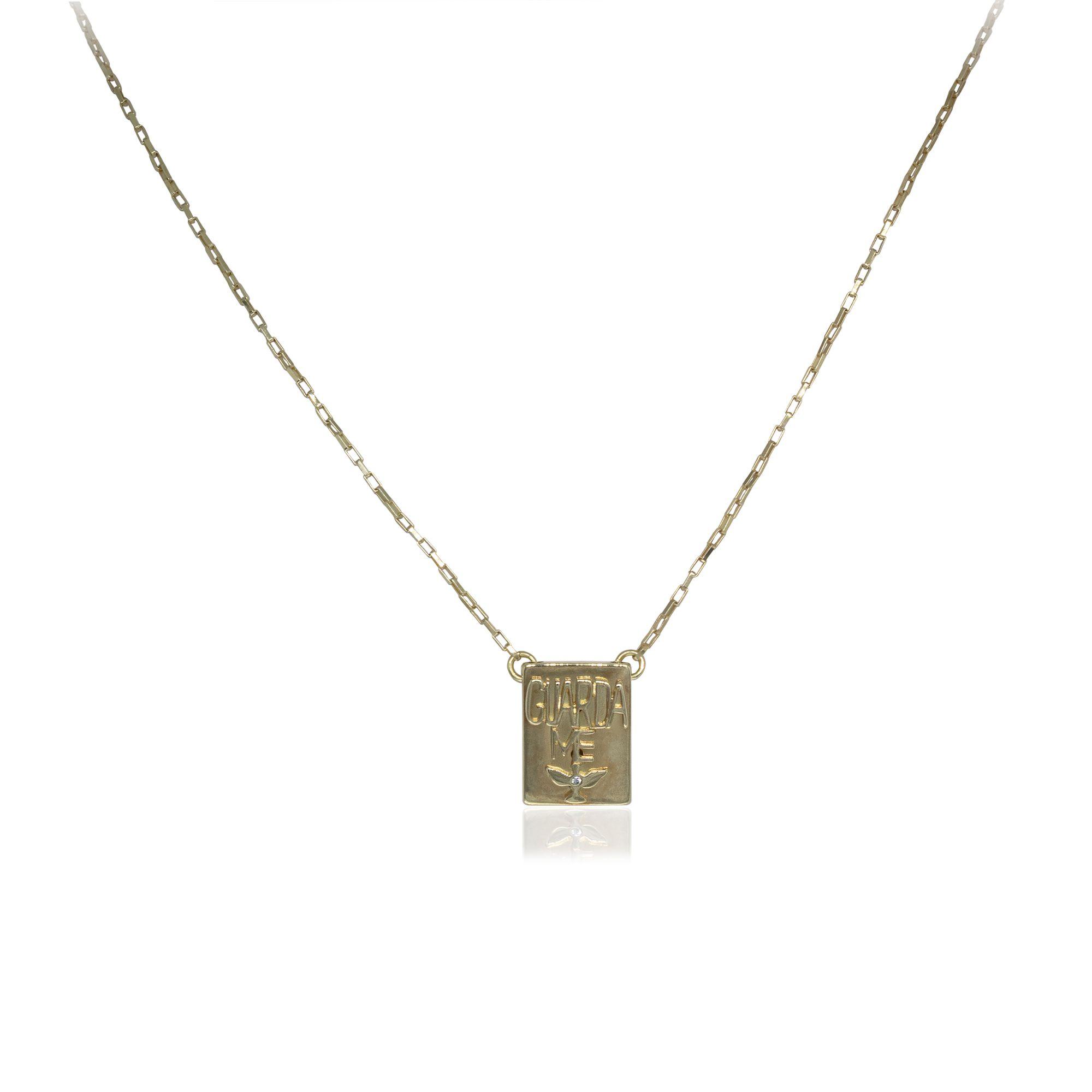 Escapulário semijoia Nossa Senhora Aparecida folheado a ouro 18k ou rhodium