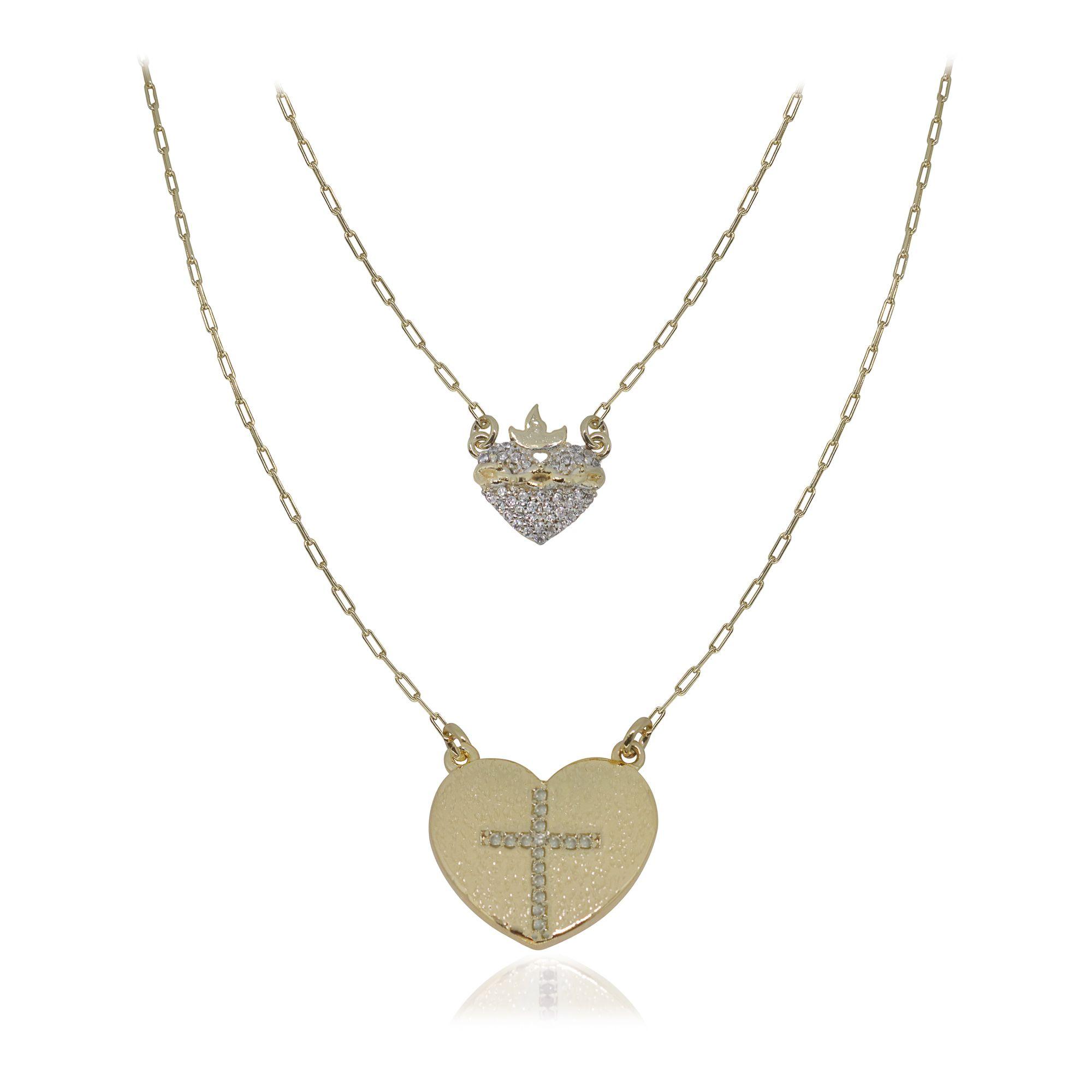 Escapulário semijoia cravejado Sagrado Coração de Jesus cruz