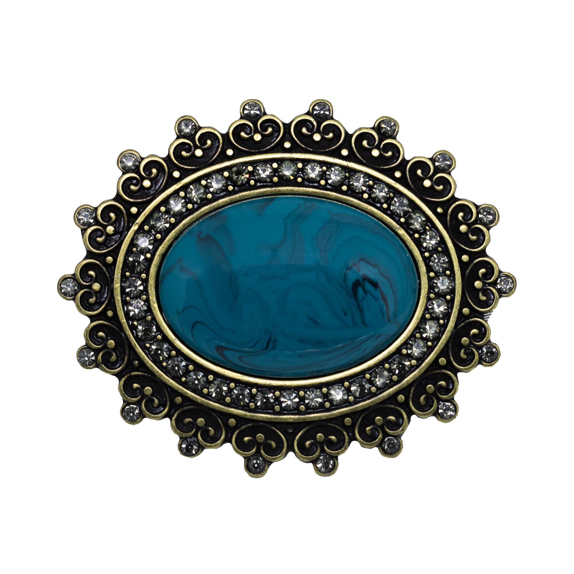 Fivela oval para cinto troca fivela em metal resina turquesa