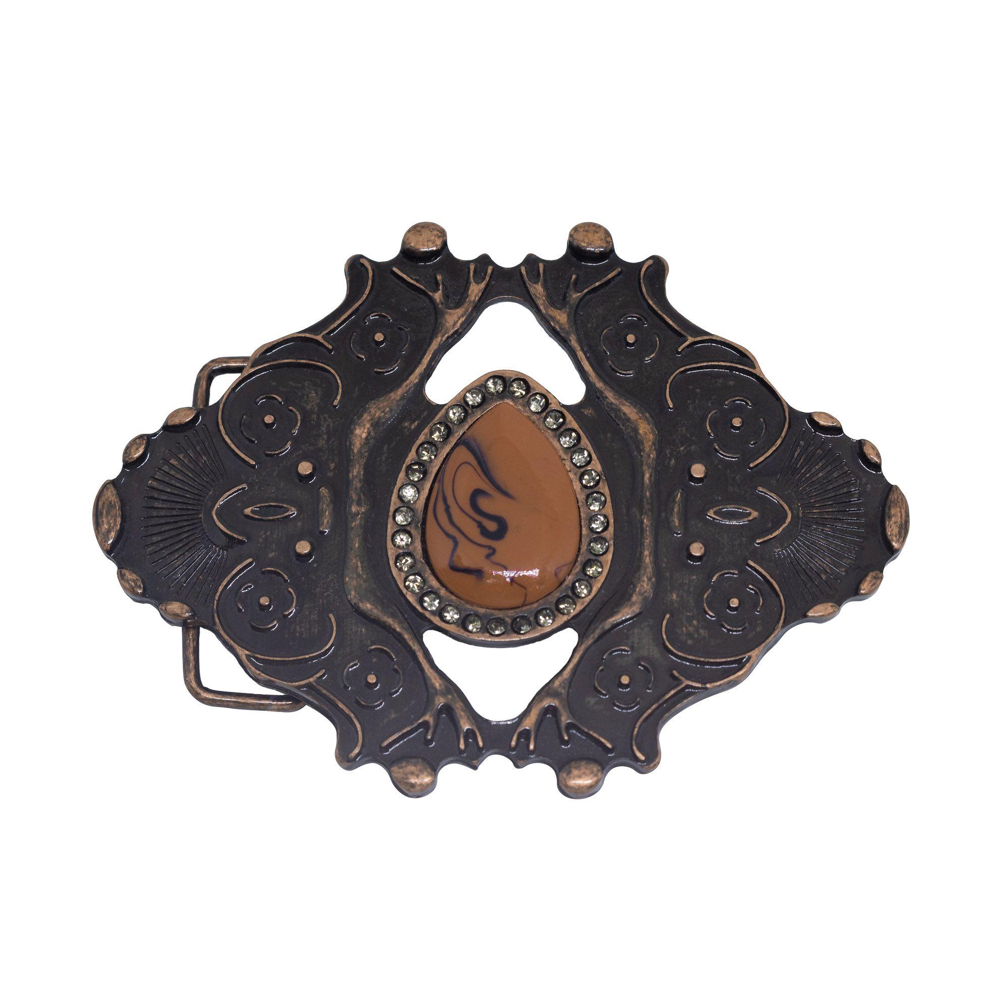 Fivela para cinto troca fivela em cobre envelhecido e resina