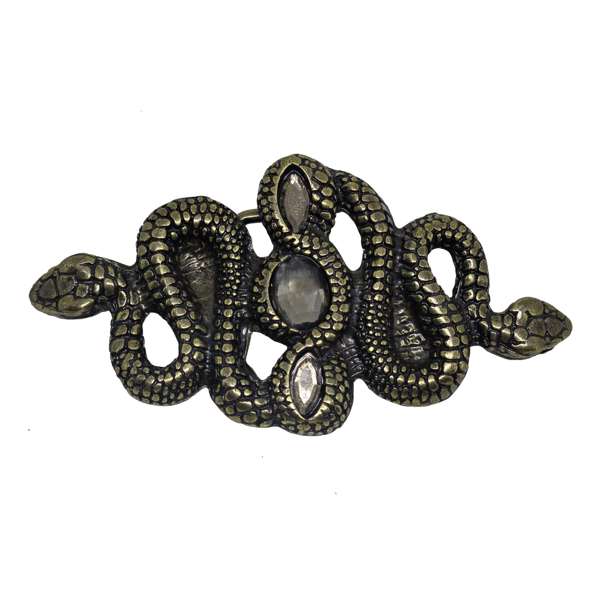 Fivela para cinto troca fivela em metal e cristais serpente