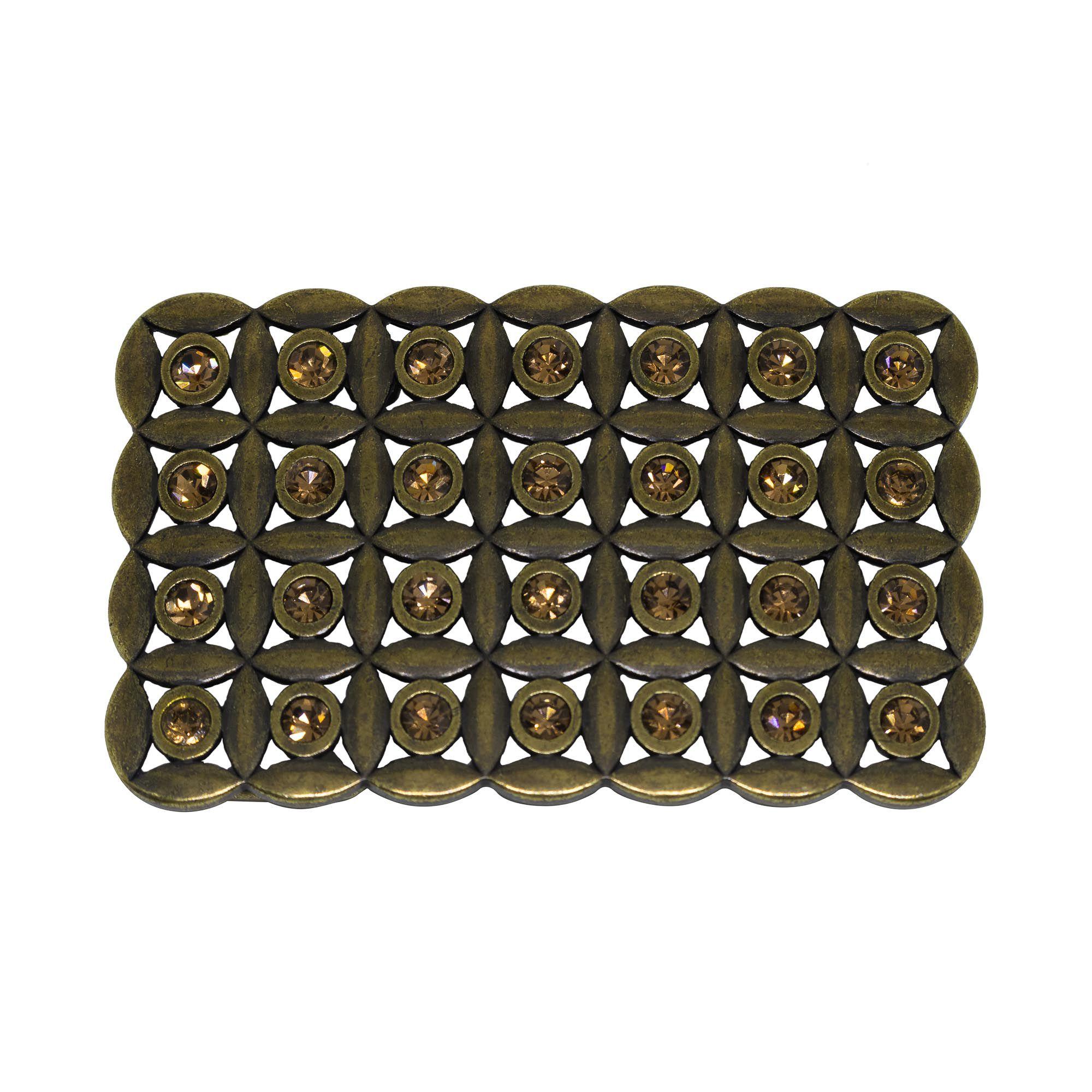Fivela retangular para cinto troca fivela em metal e cristais