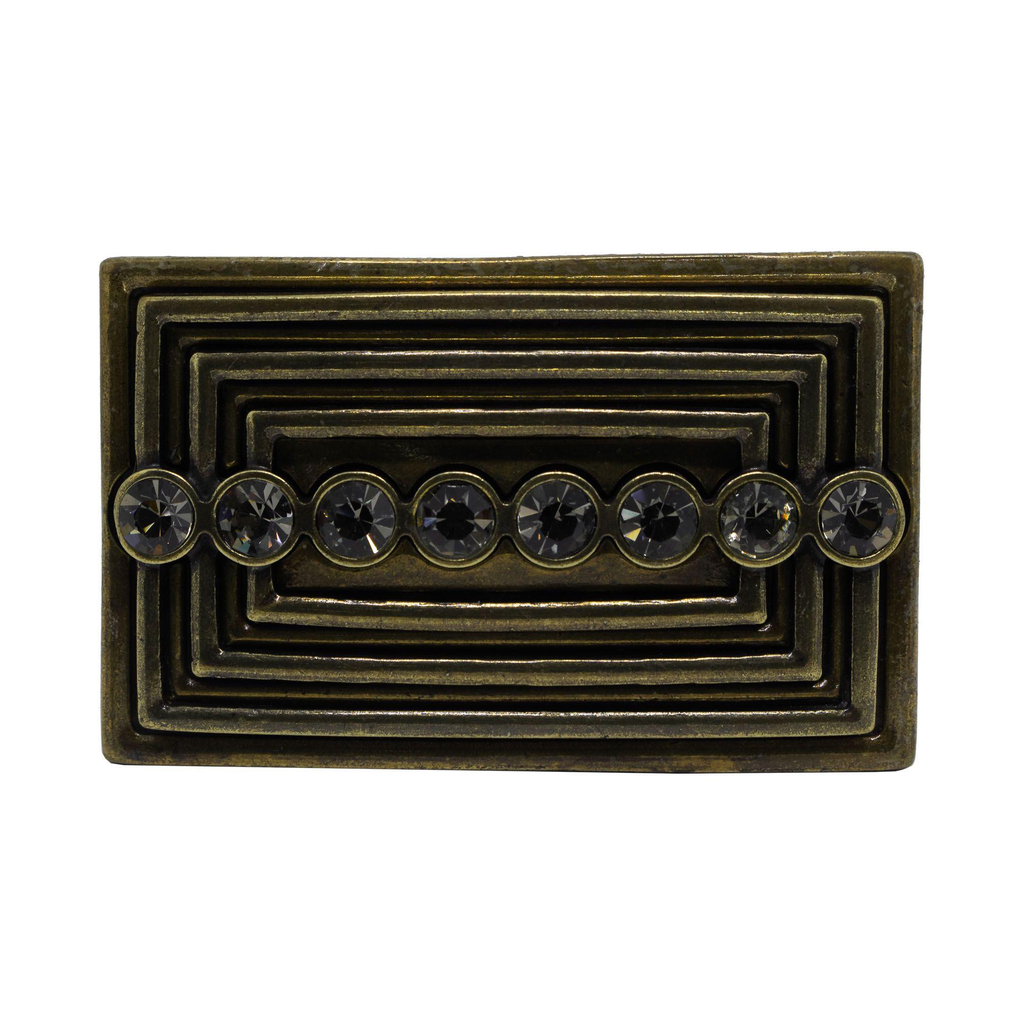 Fivela retangular para cinto troca fivela em metal e strass