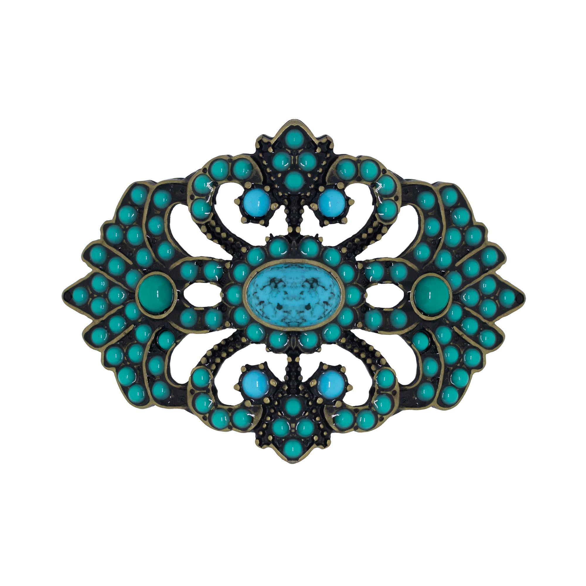 Fivela trabalhada para cinto troca fivela em resina turquesa
