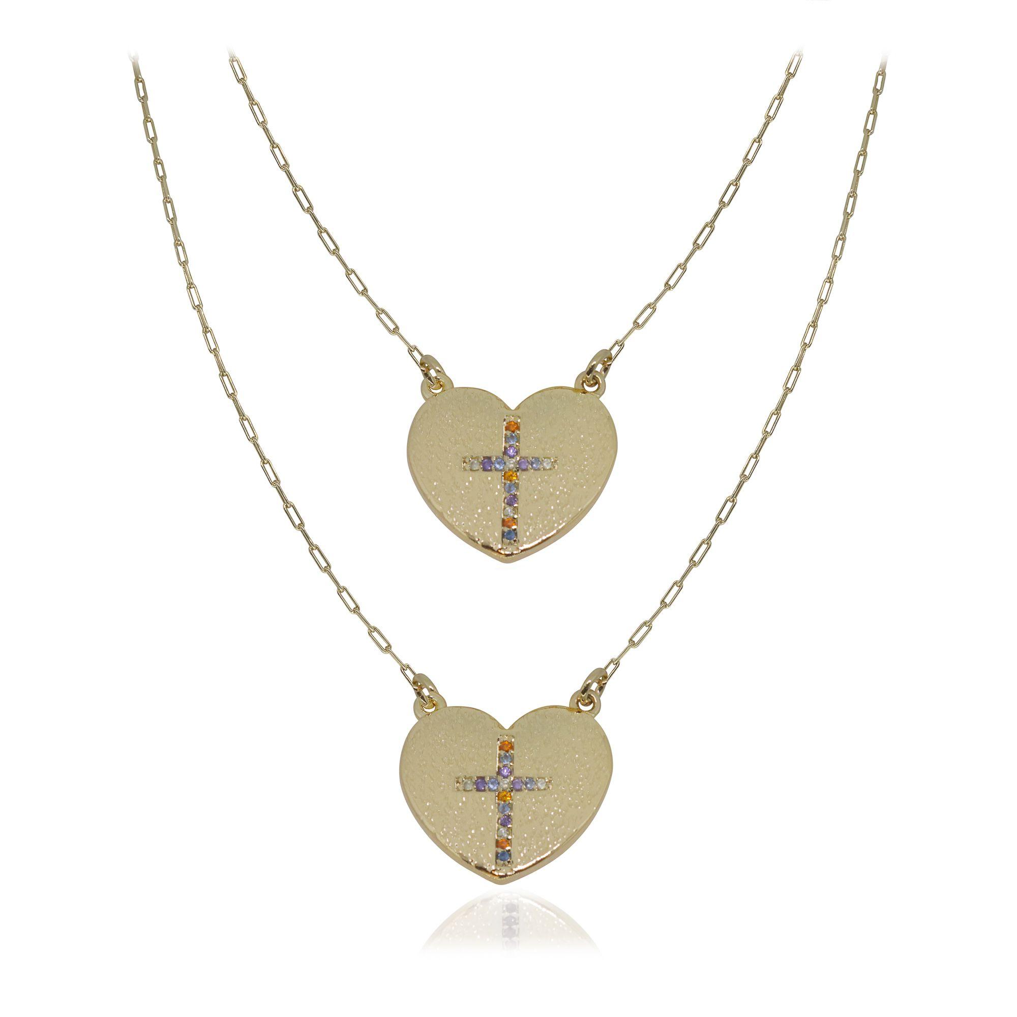 Gargantilha dupla semijoia com Cruz cravejada Dois corações