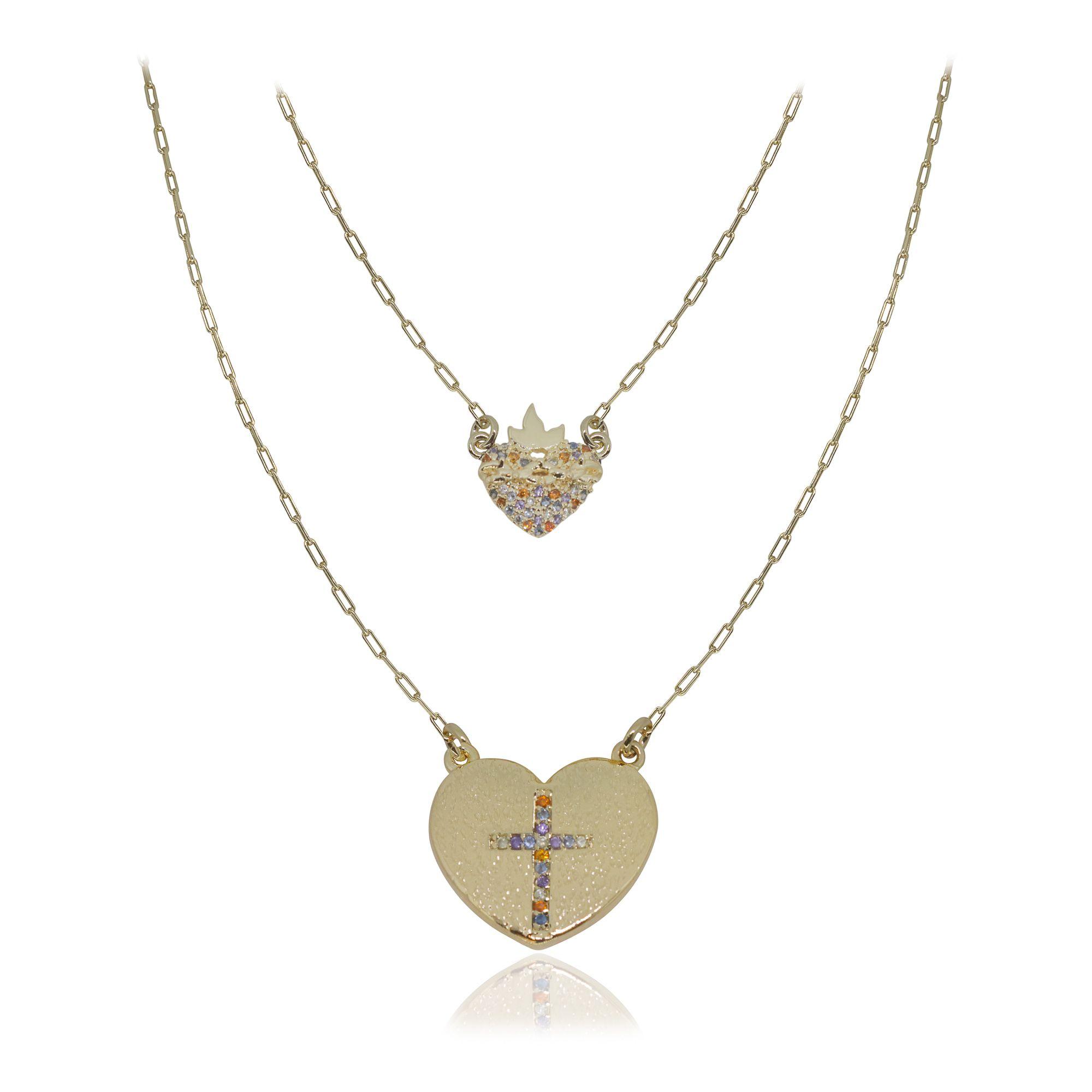Gargantilha semijoia cravejado Sagrado coração e cruz