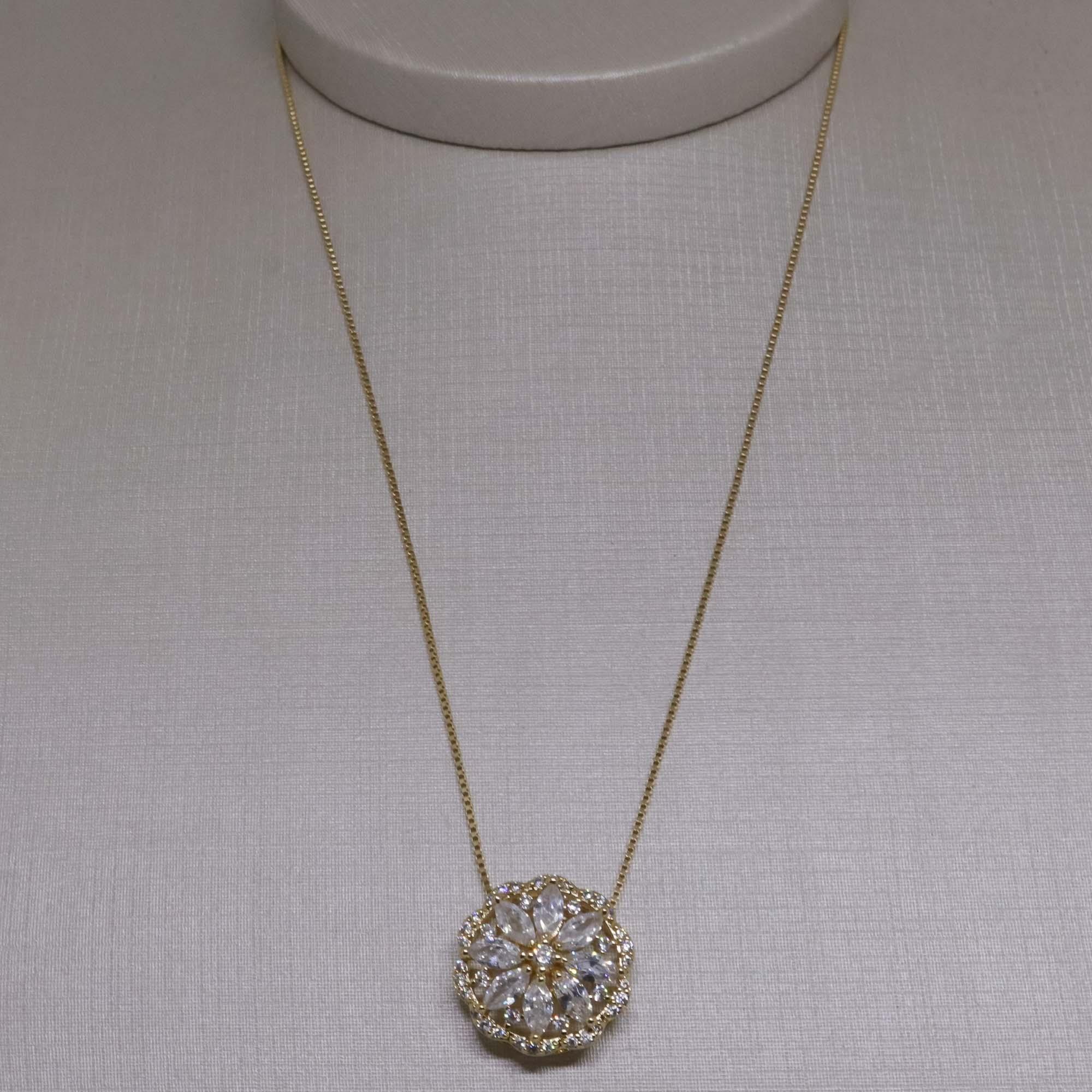 Colar Gargantilha Semi joia flor com zircônias Navettes banhado a ouro 18k ou rhodium