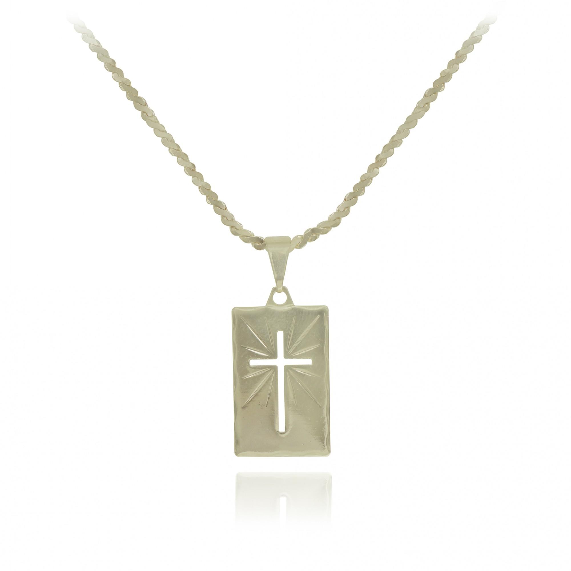 Gargantilha folheada semijoia Placa diamantada com cruz