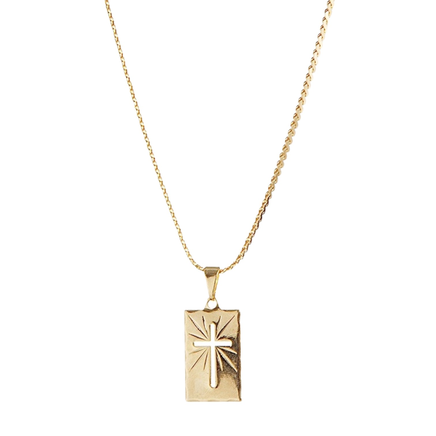 Gargantilha folheada semijoia Placa diamantada e cruz vazada
