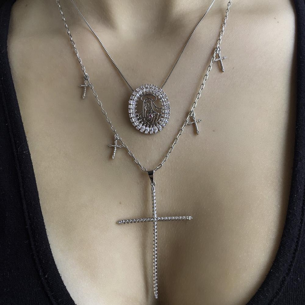 Gargantilha Mandala semijoia Sagrado Coração de Maria