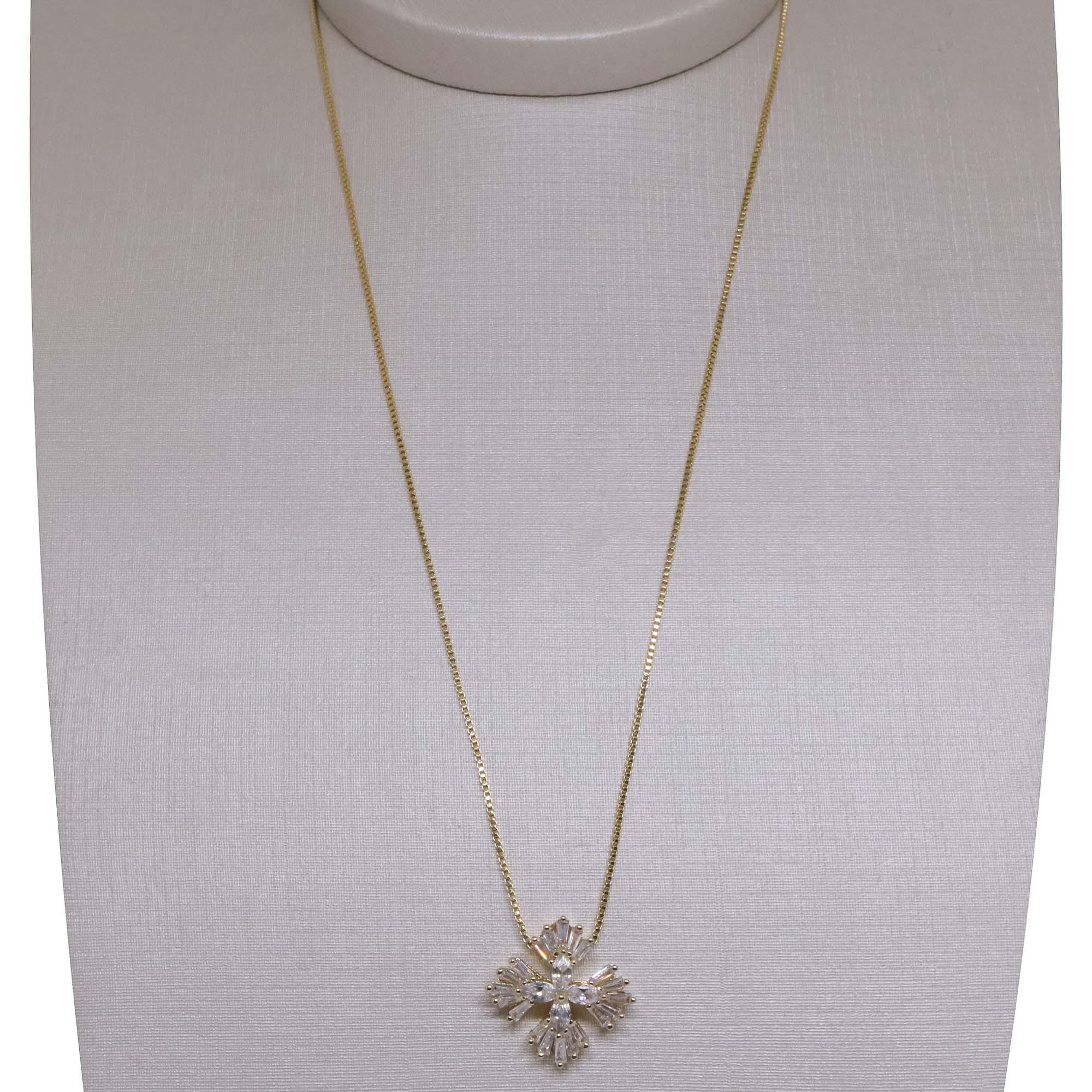 Gargantilha Semi joia  quadradinho de zircônia Baguettes banhada a ouro 18k ou rhodium