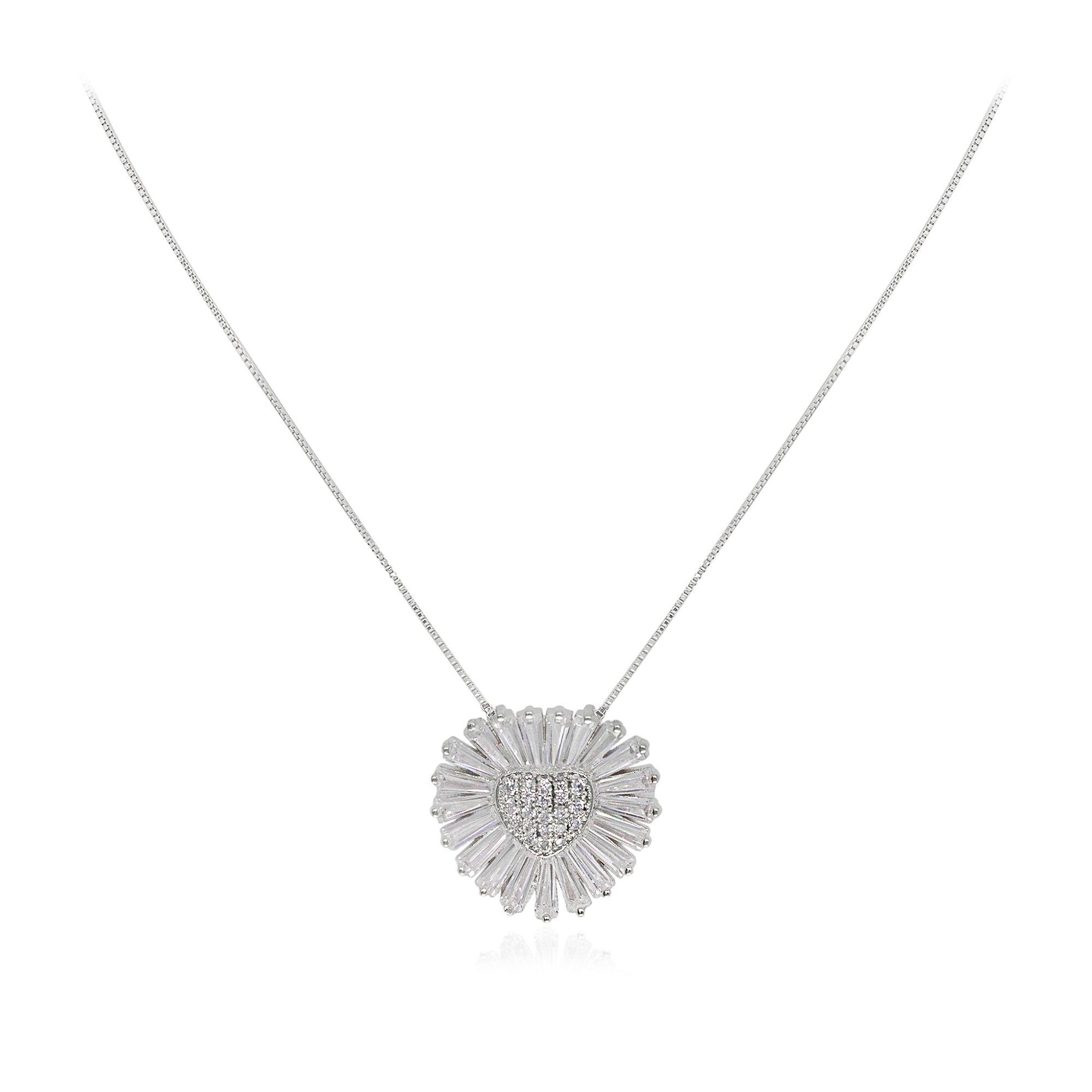 Gargantilha Semi joia coração baguettado em zircônia banhada a ouro  18k ou rhodium