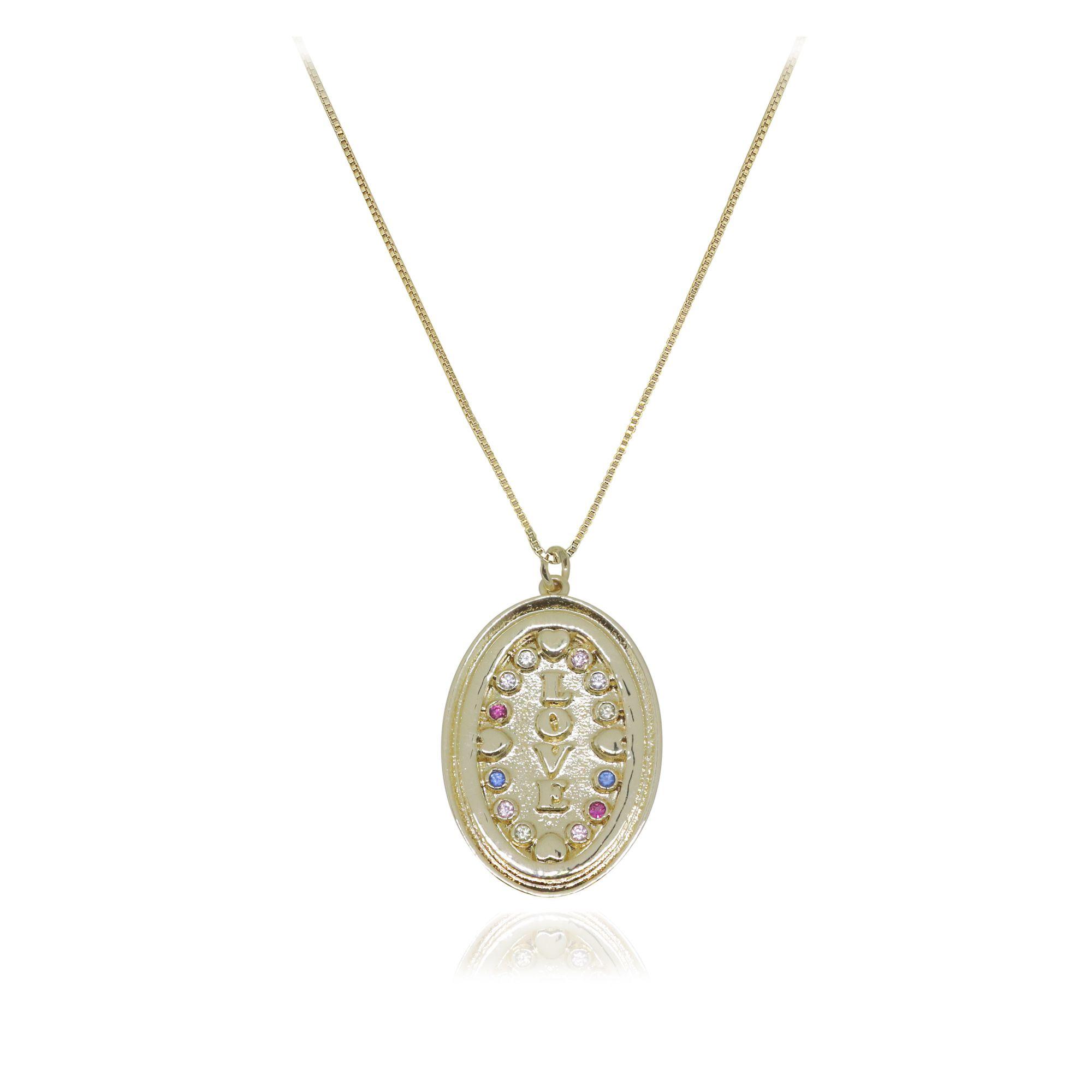 Gargantilha Semi joia Placas Imagine Love com zircônia e banhada a ouro 18k ou rhodium