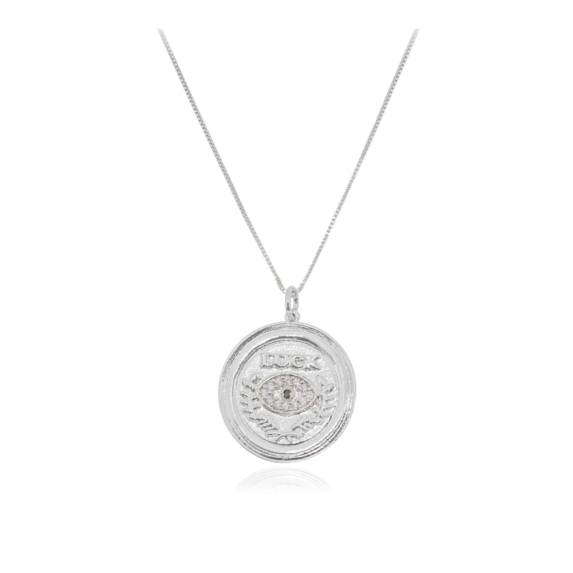 Gargantilha Semi joia Placas Imagine Luck com zircônia e folheada a ouro 18k ou rhodium