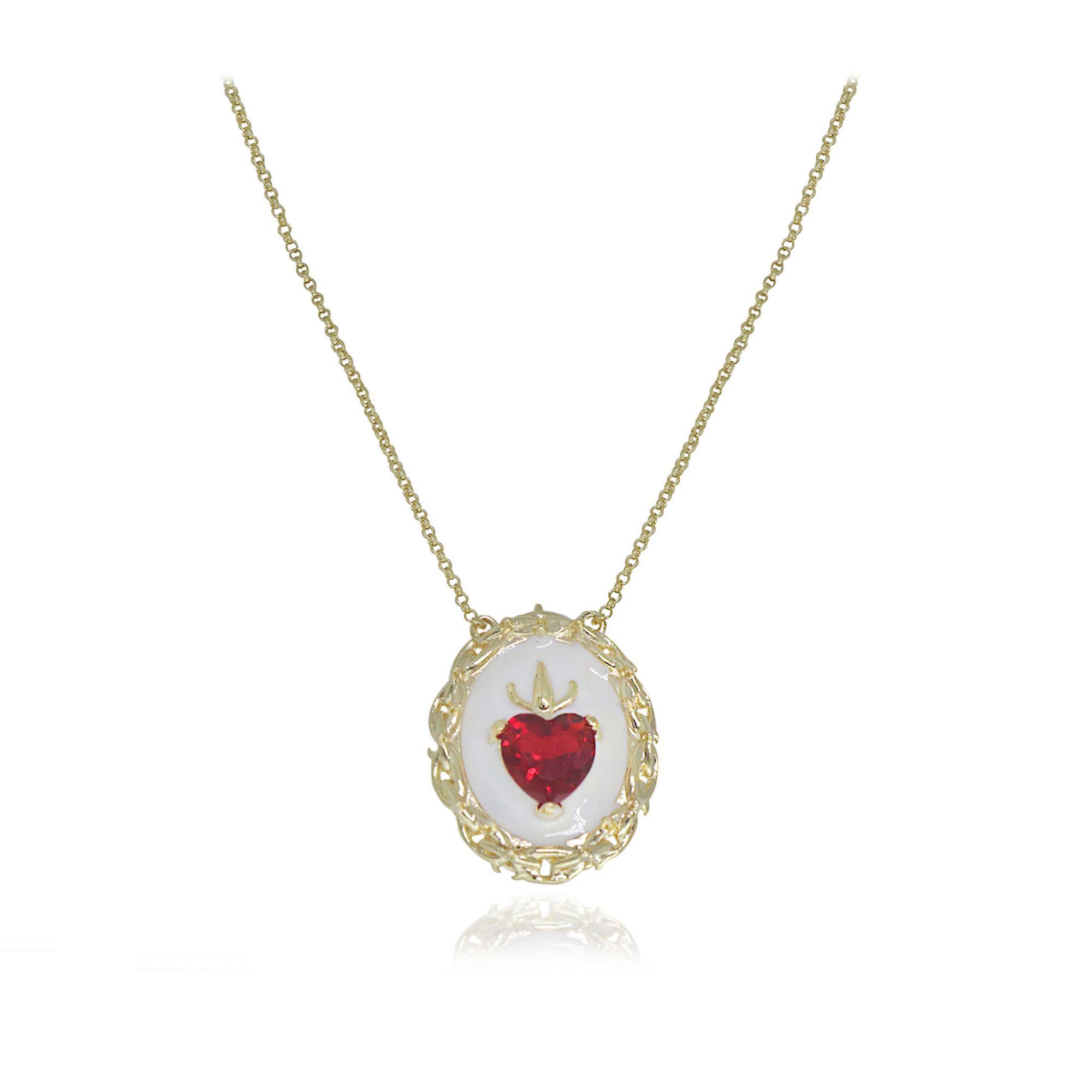 Gargantilha Semi joia Sagrado coração Resinado com cristal e folheada a ouro 18k ou rhodium