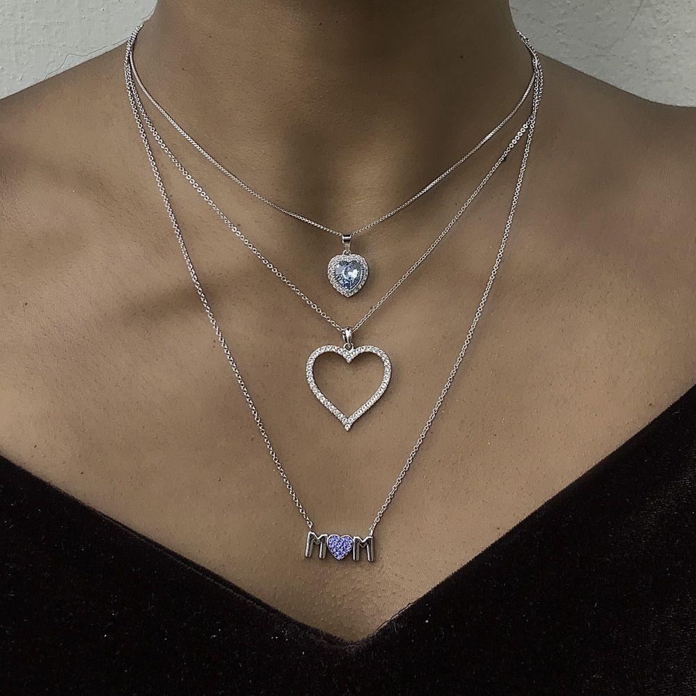 Gargantilha folheada semijoia em cristais Swarovski Coração