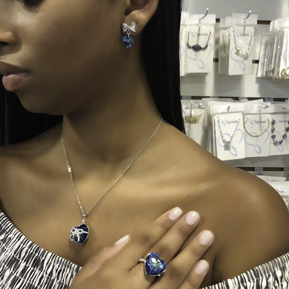 Gargantilha folheada em cristais Swarovski de Coração e laço