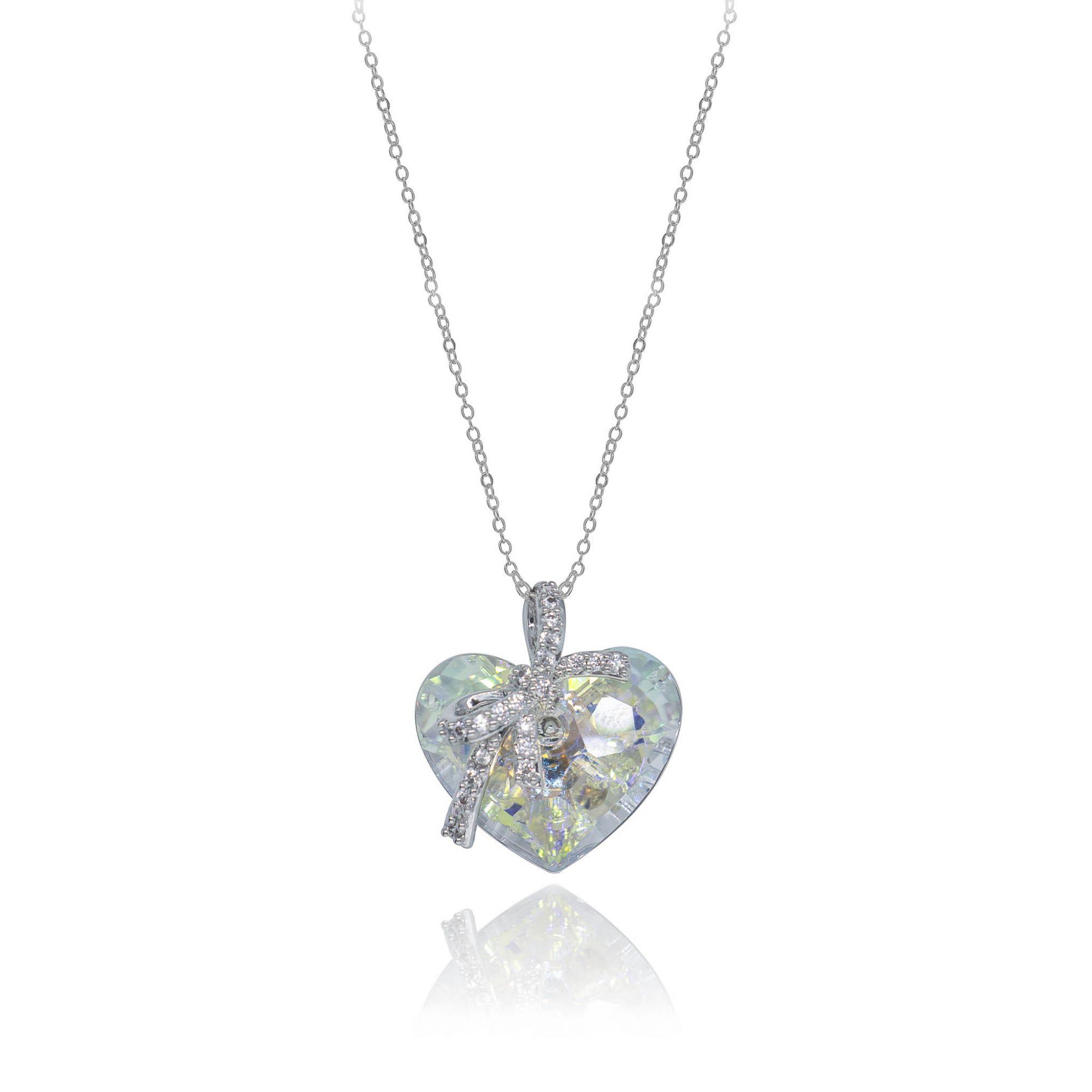 Gargantilha folheada em cristais Swarovski Coração P e laço
