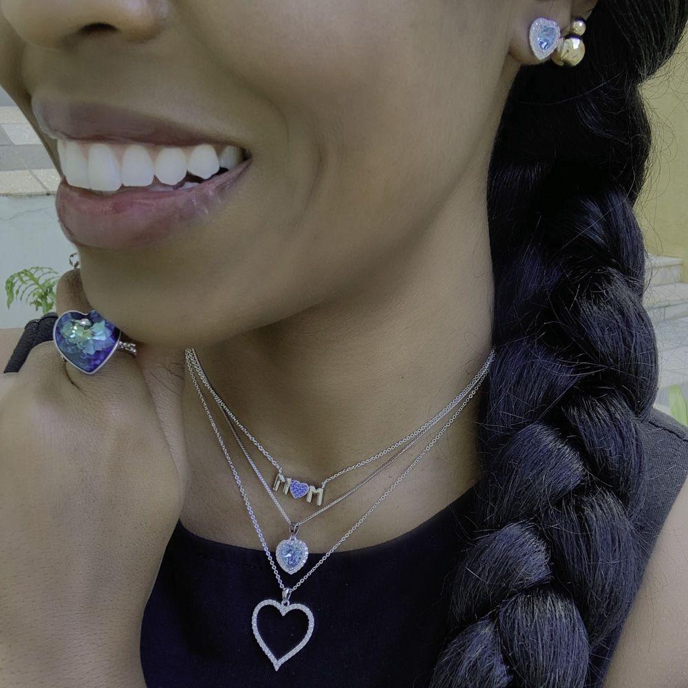 Gargantilha folheada em cristais Swarovski de Coração vazado
