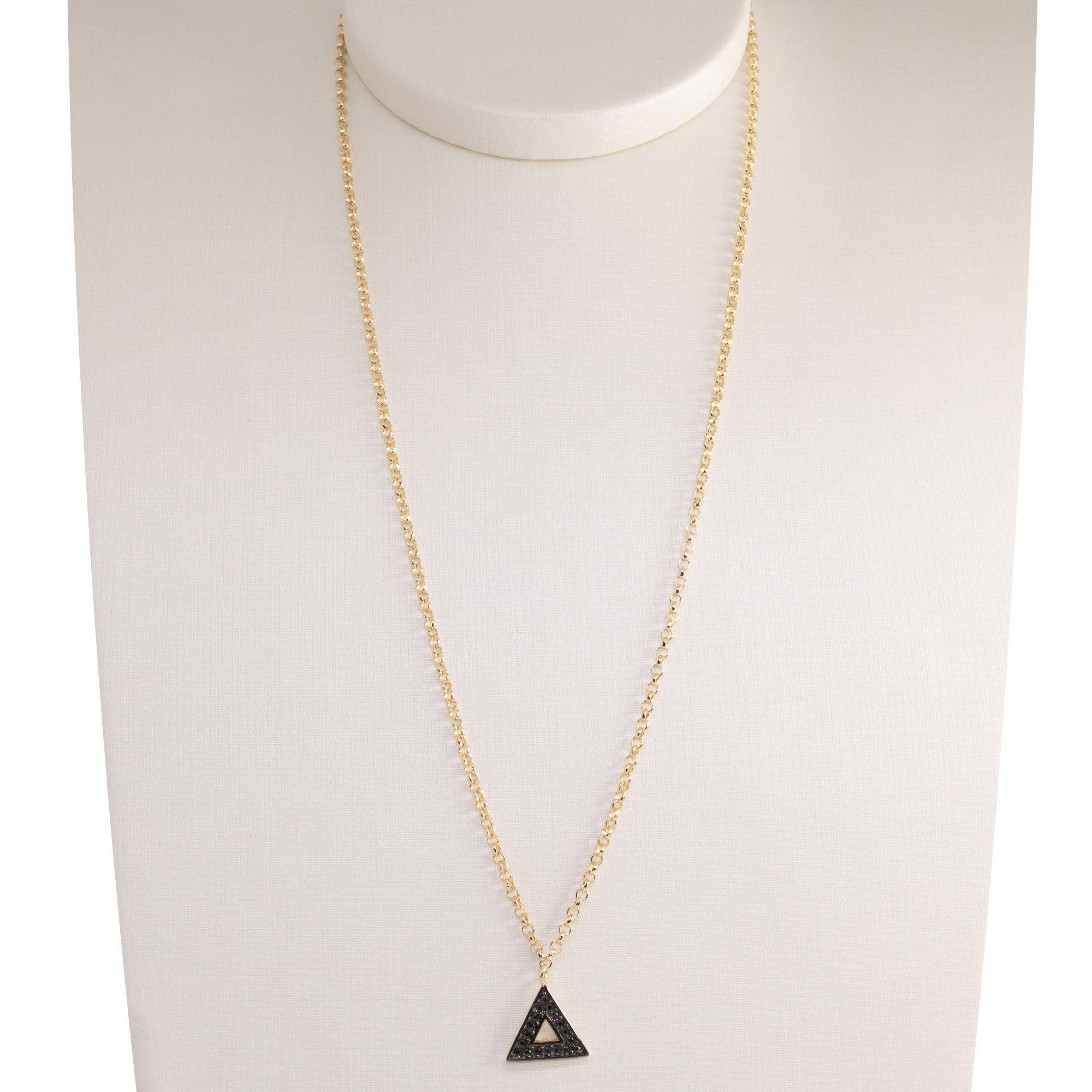 Gargantilha Semi joia  triângulo Mimos banhada a ouro 18k ou rhodium