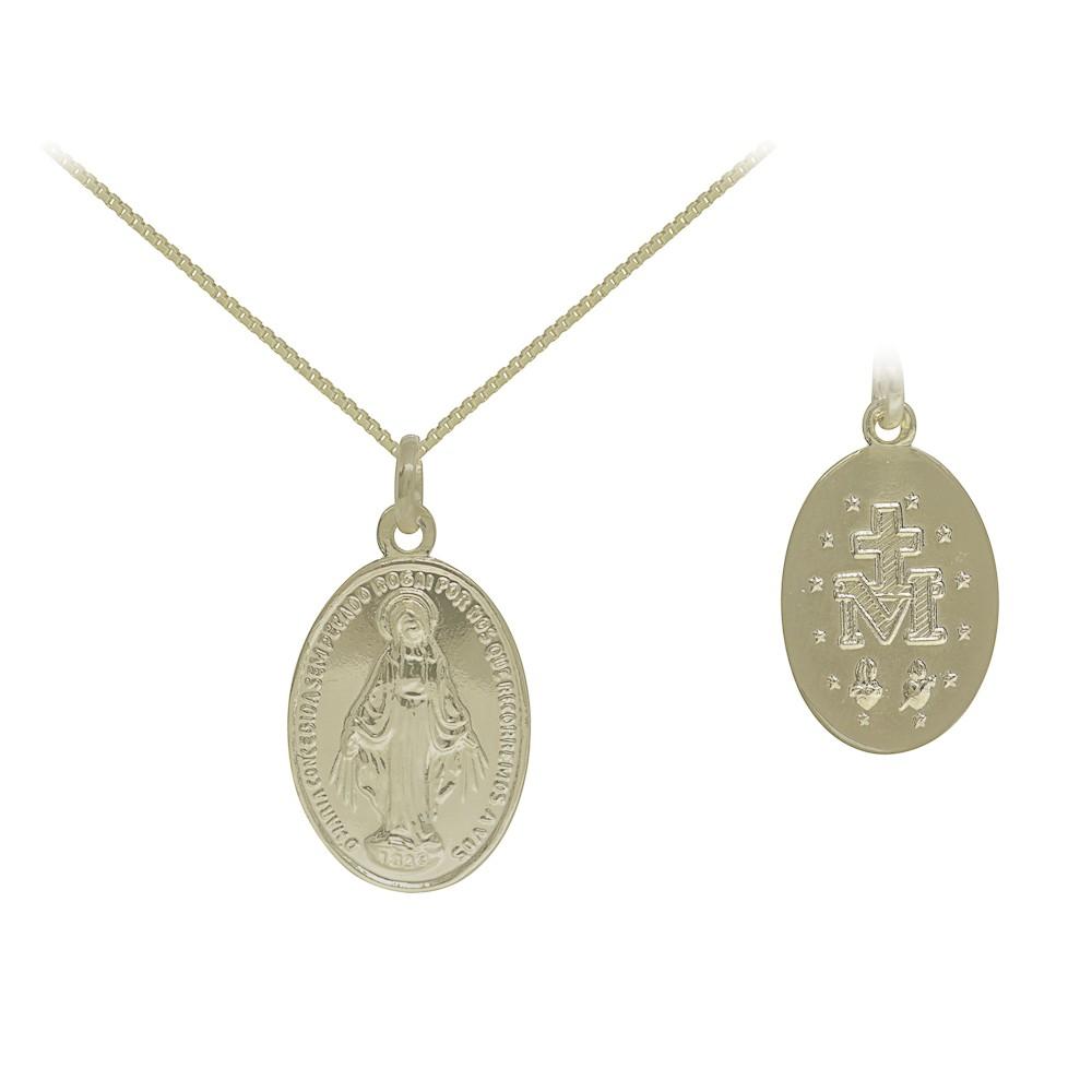 Medalha semijoia Nossa Senhora das Graças folheado a ouro M