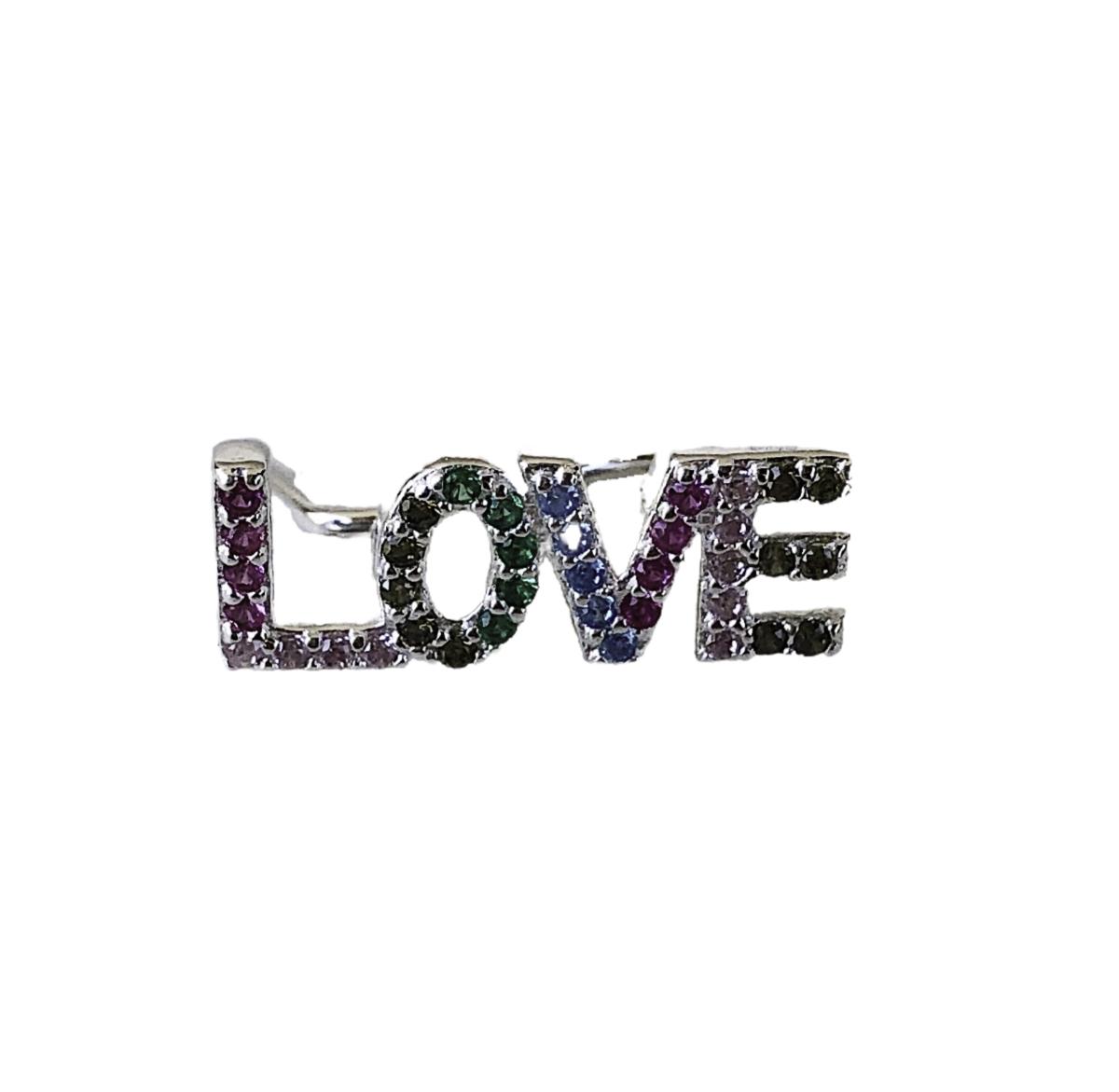 Piercing fake joia prata 925 pura Love cravejado colorido