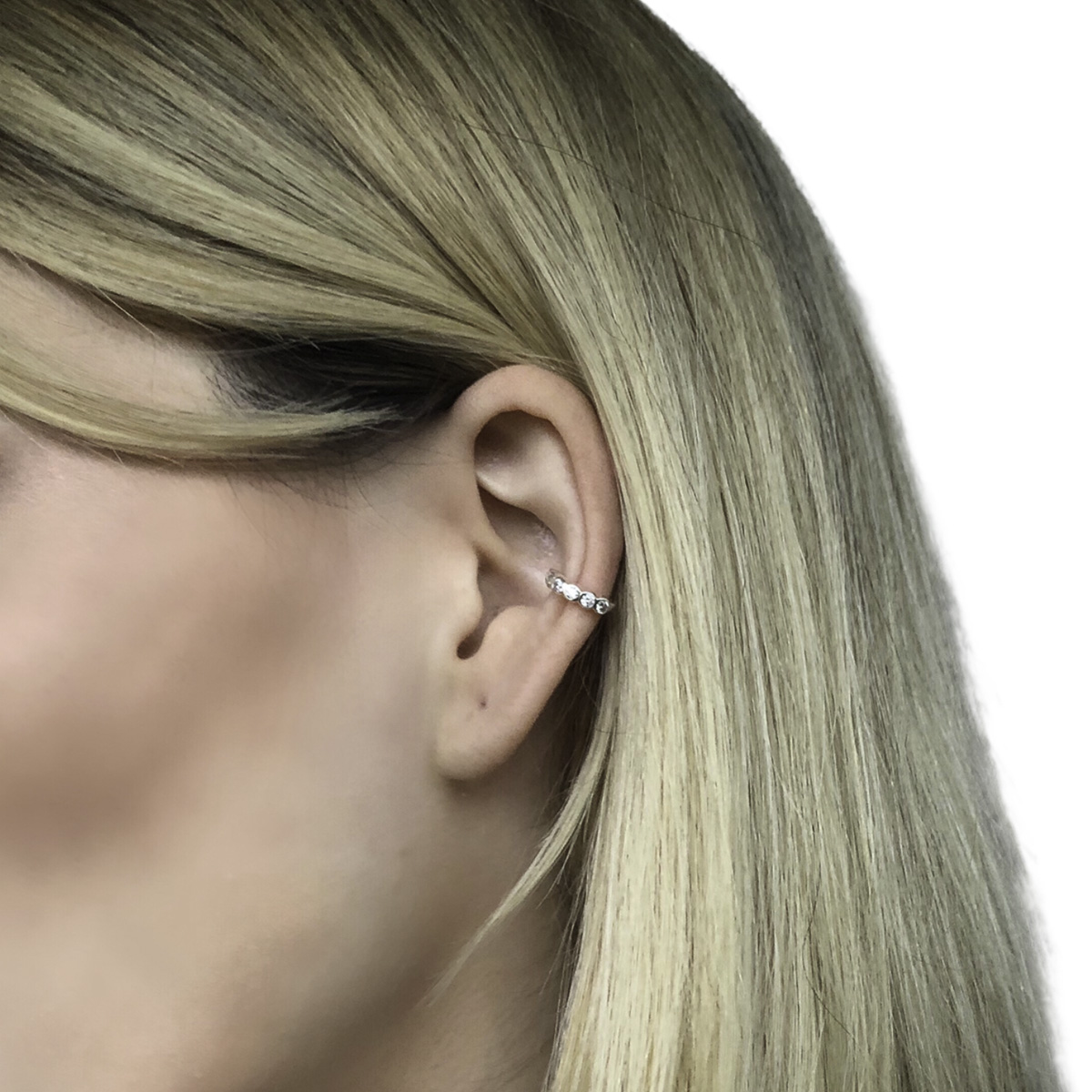Piercing fake joia prata de lei 925 pura 6 zircônias