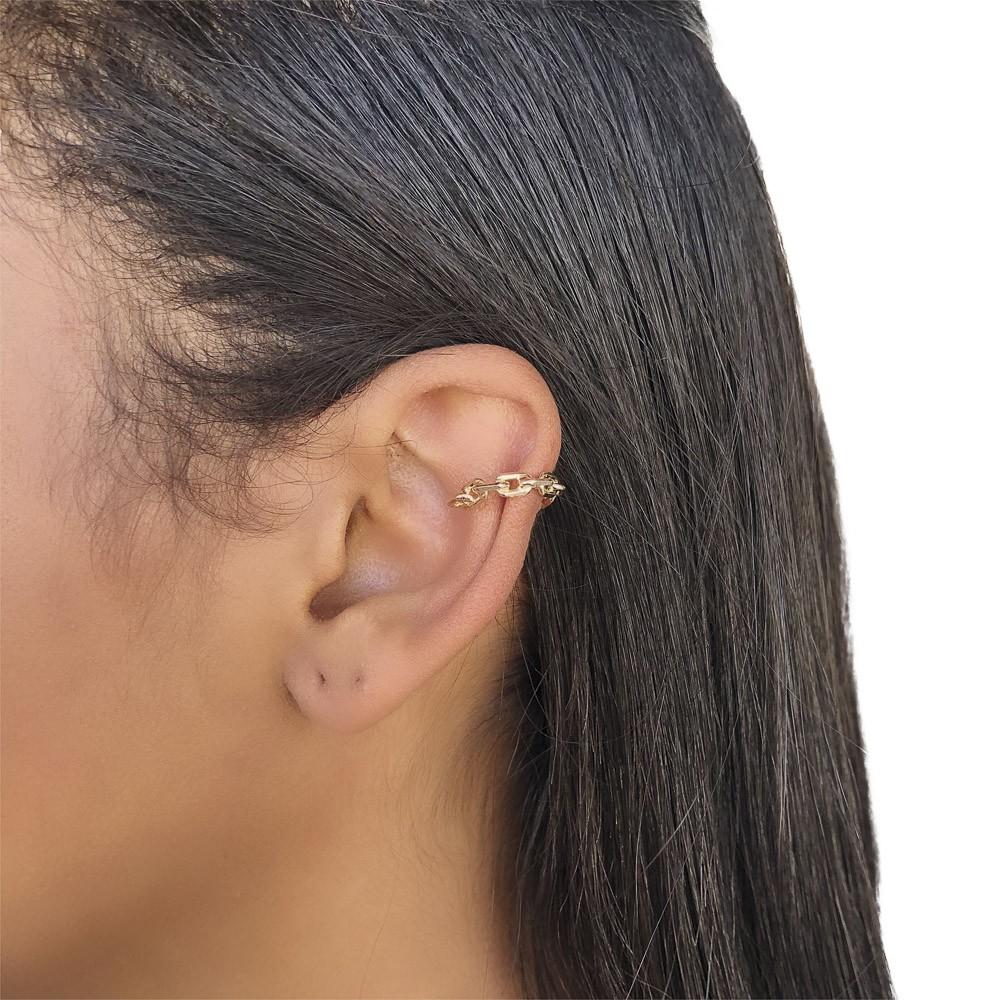 Piercing fake (pressão) semijoia folheado a ouro de elos