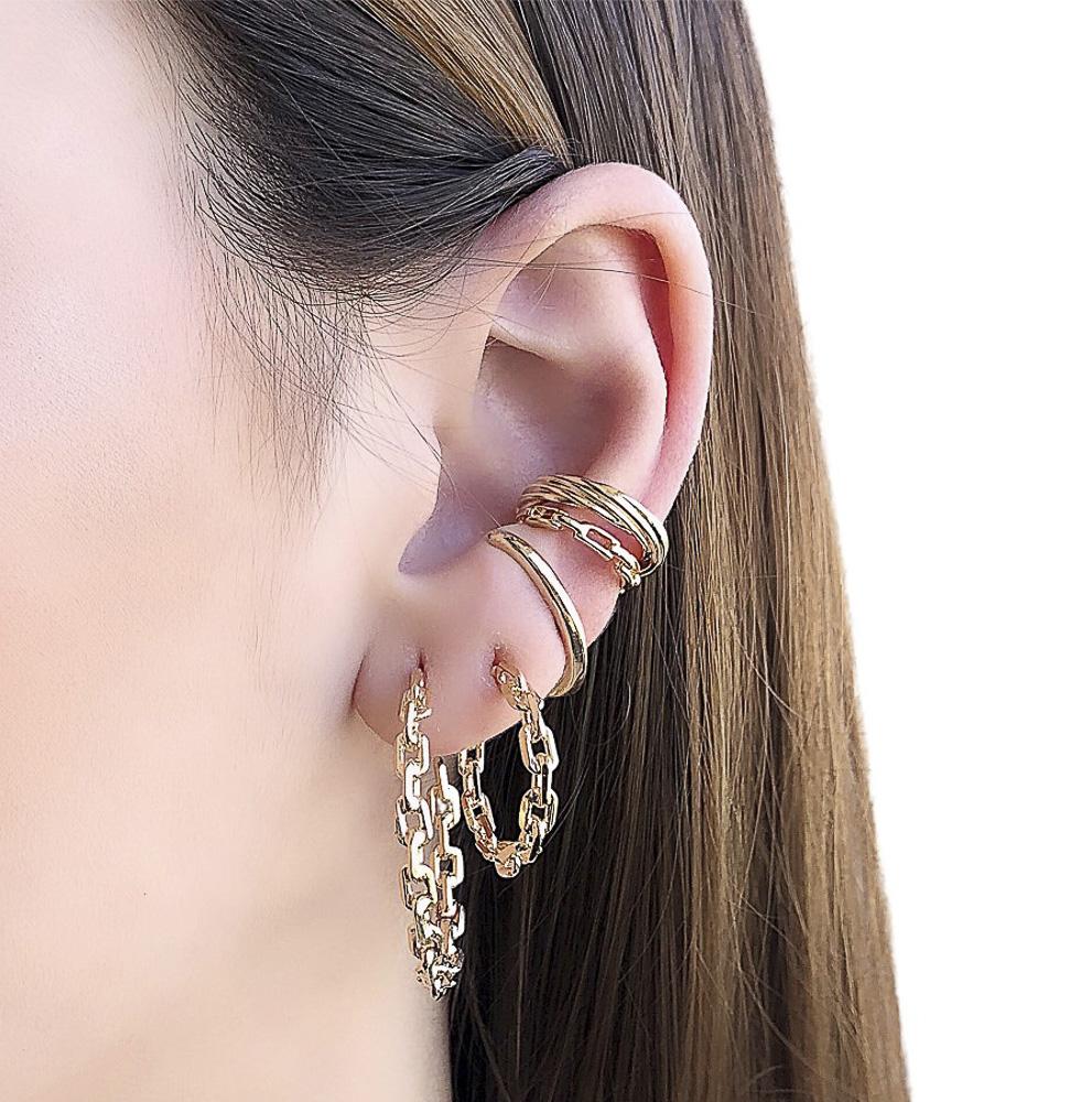Piercing fake semijoia corrente folheado ouro ou prata