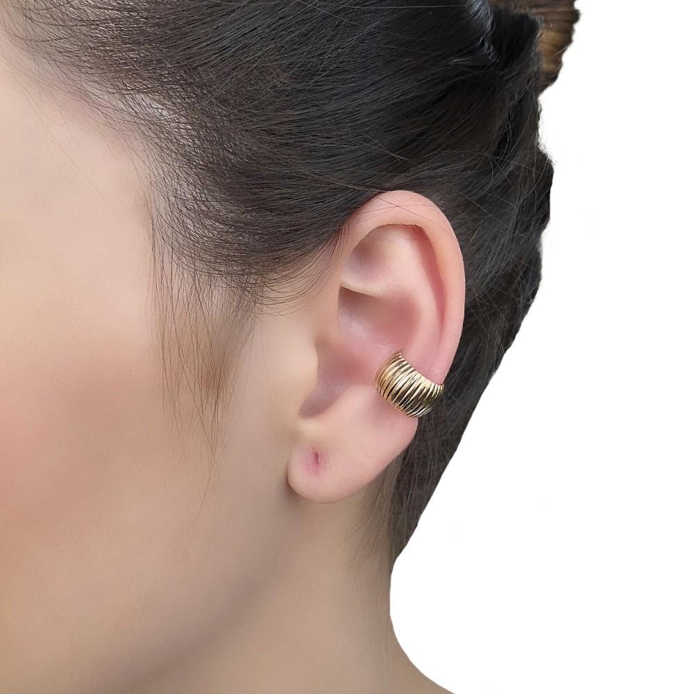 Piercing fake semijoia folheado ouro  ródio Chapa listrada