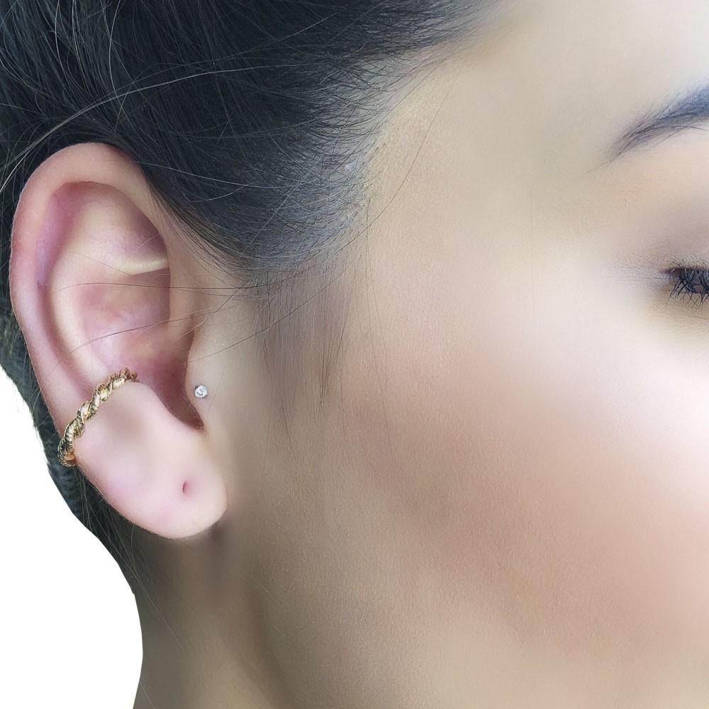 Piercing fake semijoia torcido folheado ouro 18k ou ródio M