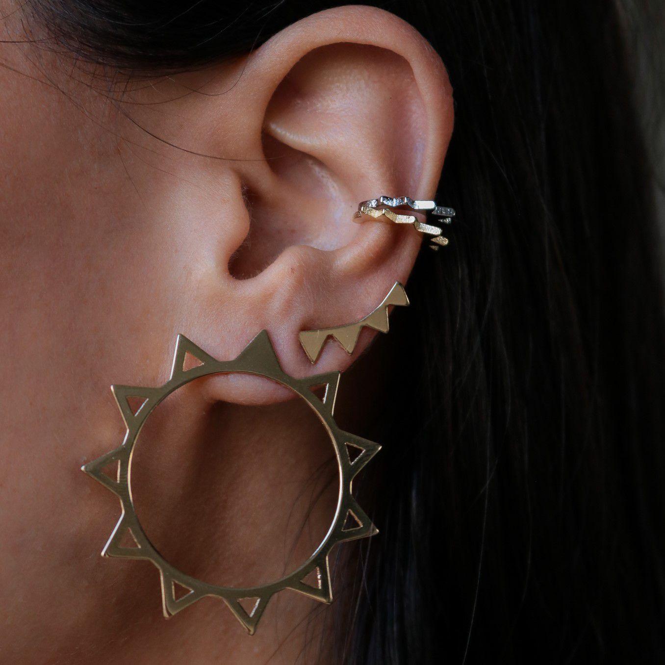 Piercing fake folheado semijoia estilo minimalista Pontas