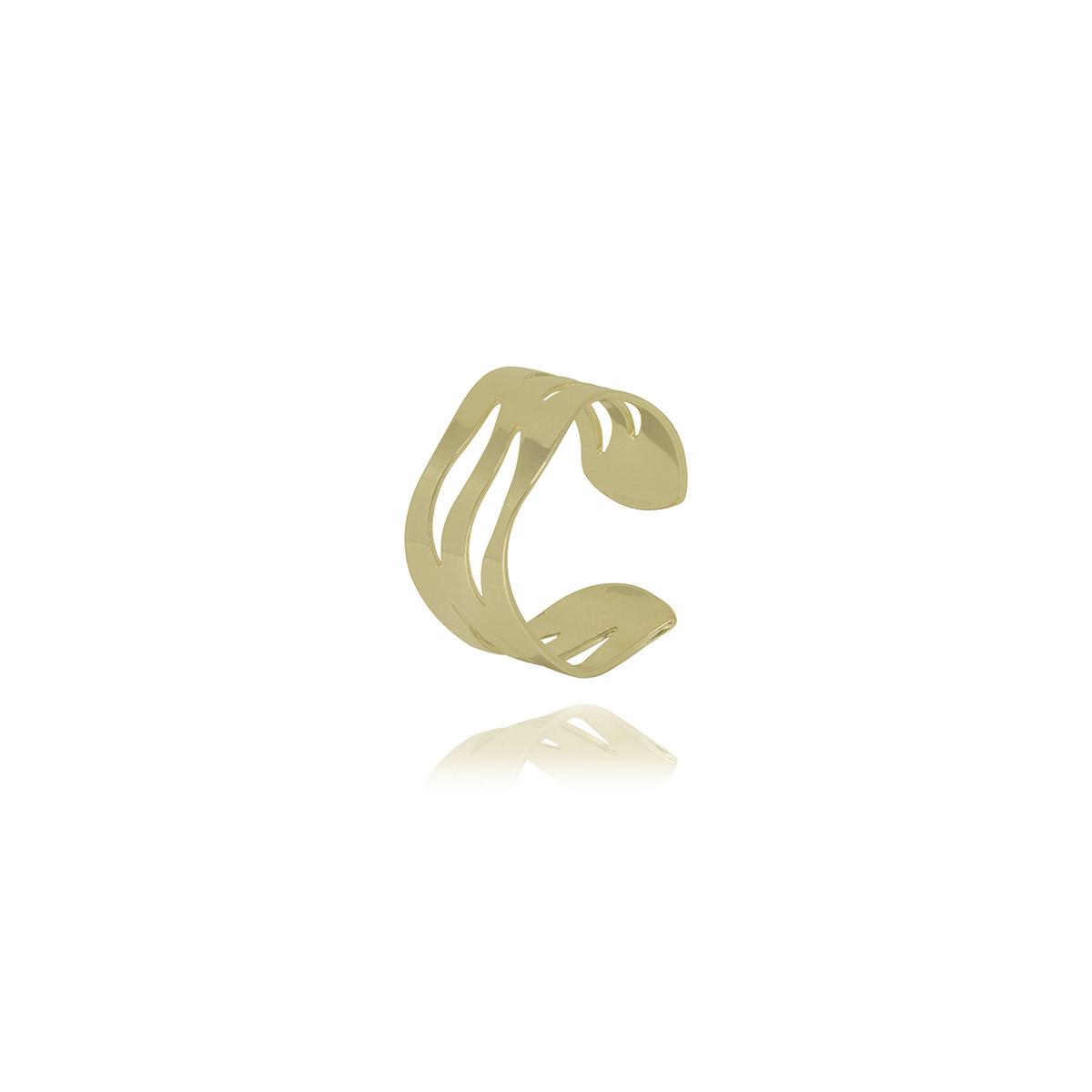 Piercing semijoia ondas vazadas folheado a ouro 18k ou ródio