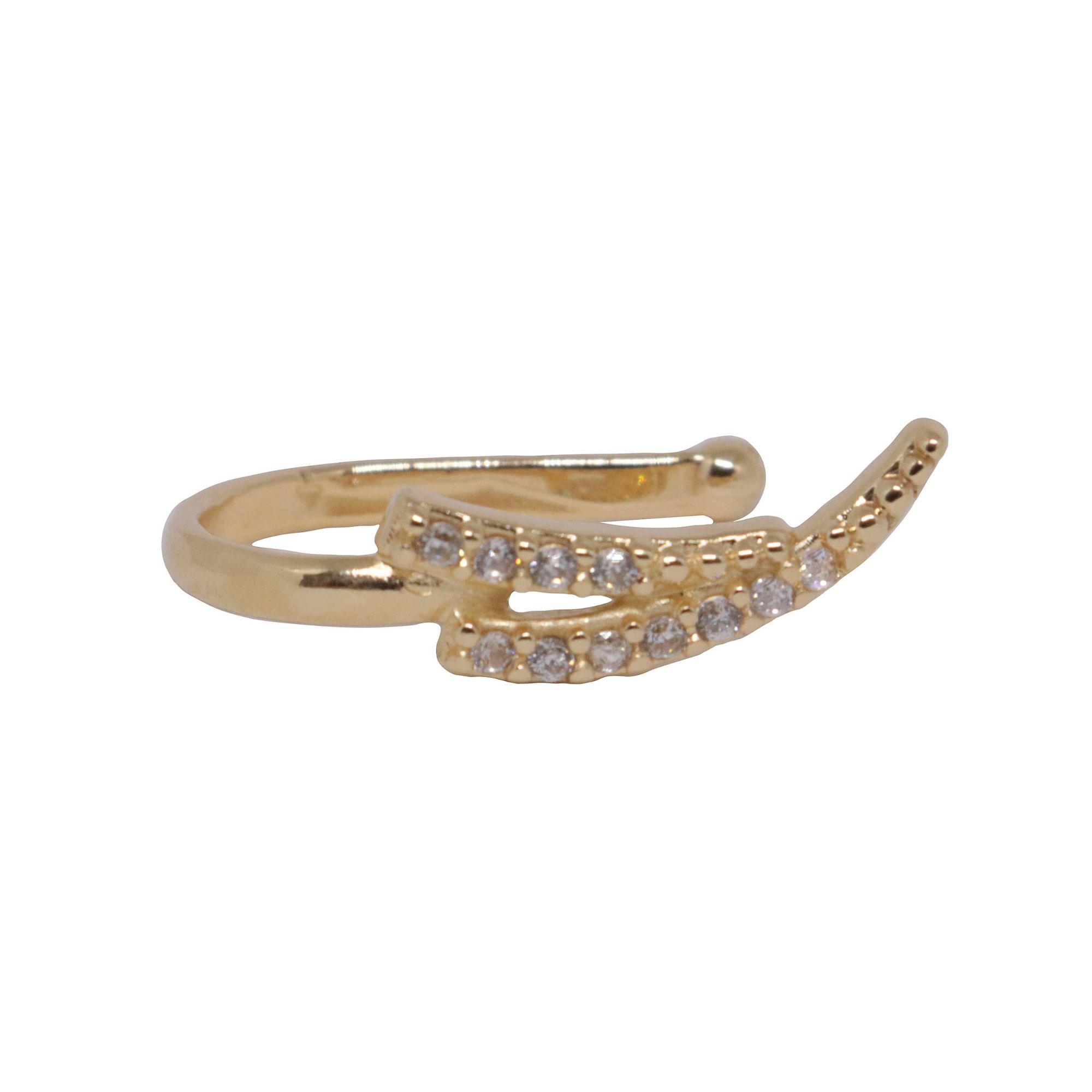 Piercing Semi joia Seta cravejado folheado a ouro 18k ou rhodium