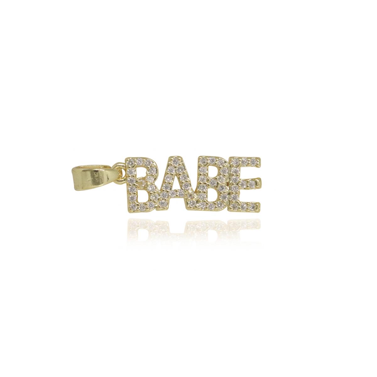 Pingente Babe cravejado em zircônia folheado a ouro ou ródio