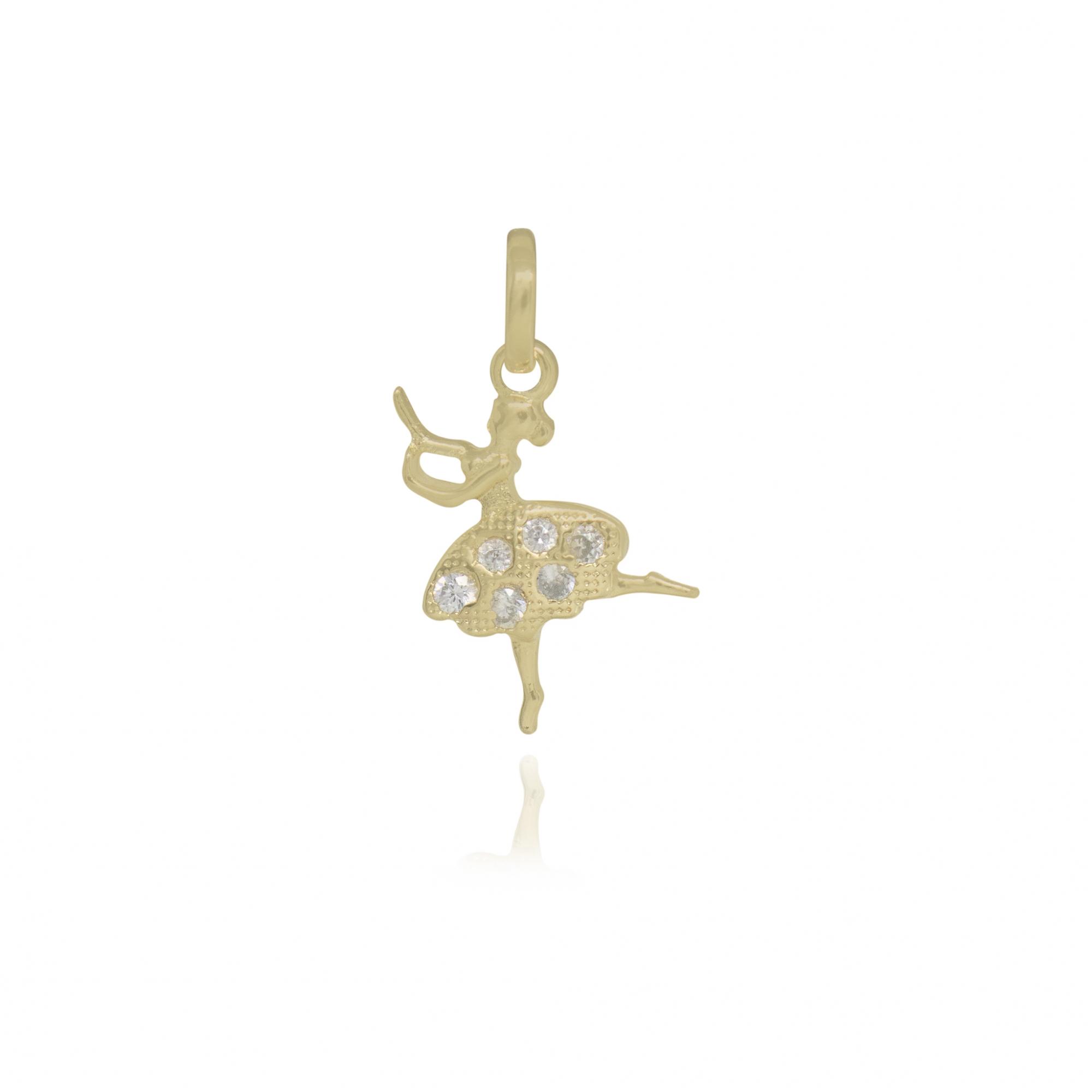 Pingente Bailarina cravejado em zircônia folheado ouro 18k