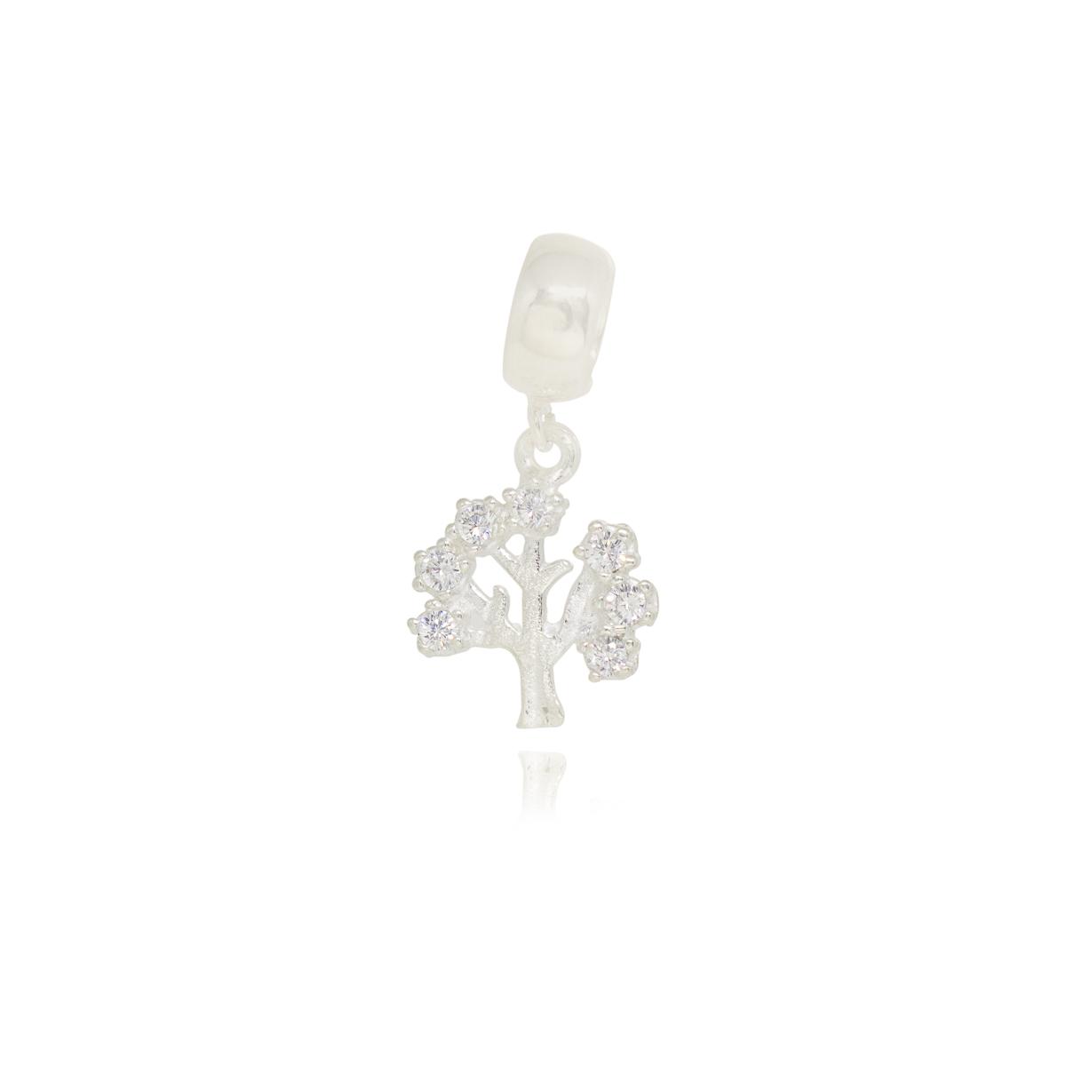 Pingente berloque joia prata 925 e zircônia Árvore da Vida