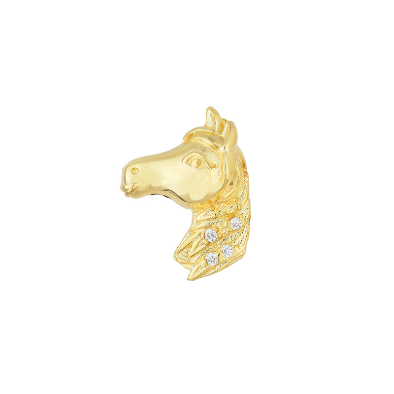 Pingente cabeça de  Cavalo P e zircônia folheado a ouro 18k