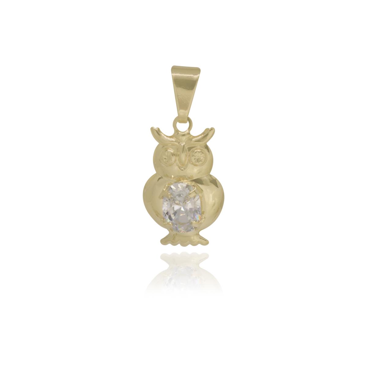 Pingente Coruja com zircônia folheado a ouro 18k ou ródio