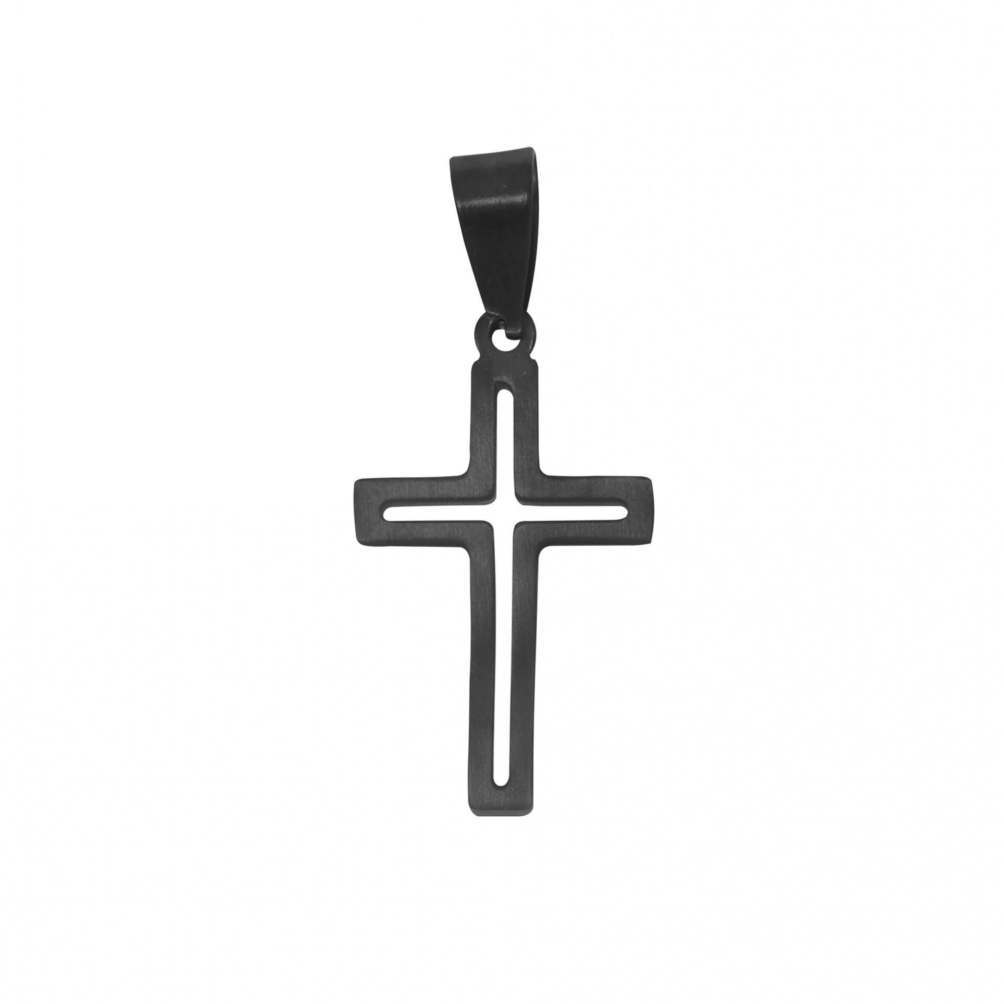 Pingente de aço inox Cruz vazada negra